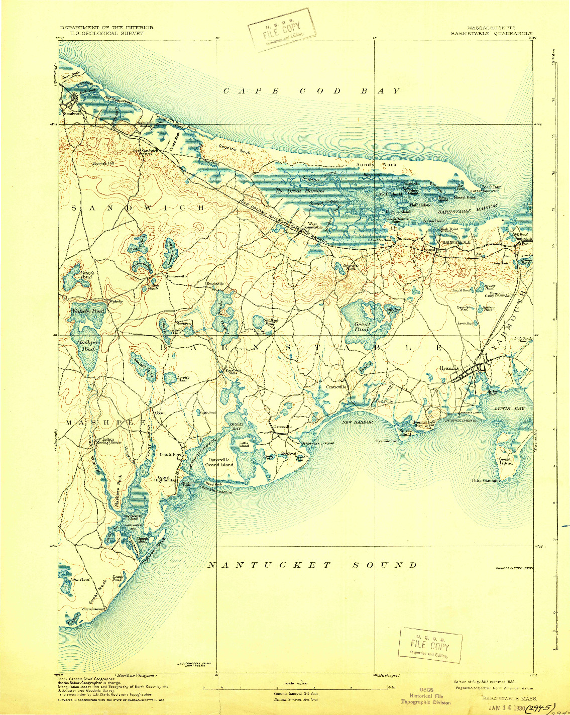 USGS 1:62500-SCALE QUADRANGLE FOR BARNSTABLE, MA 1893