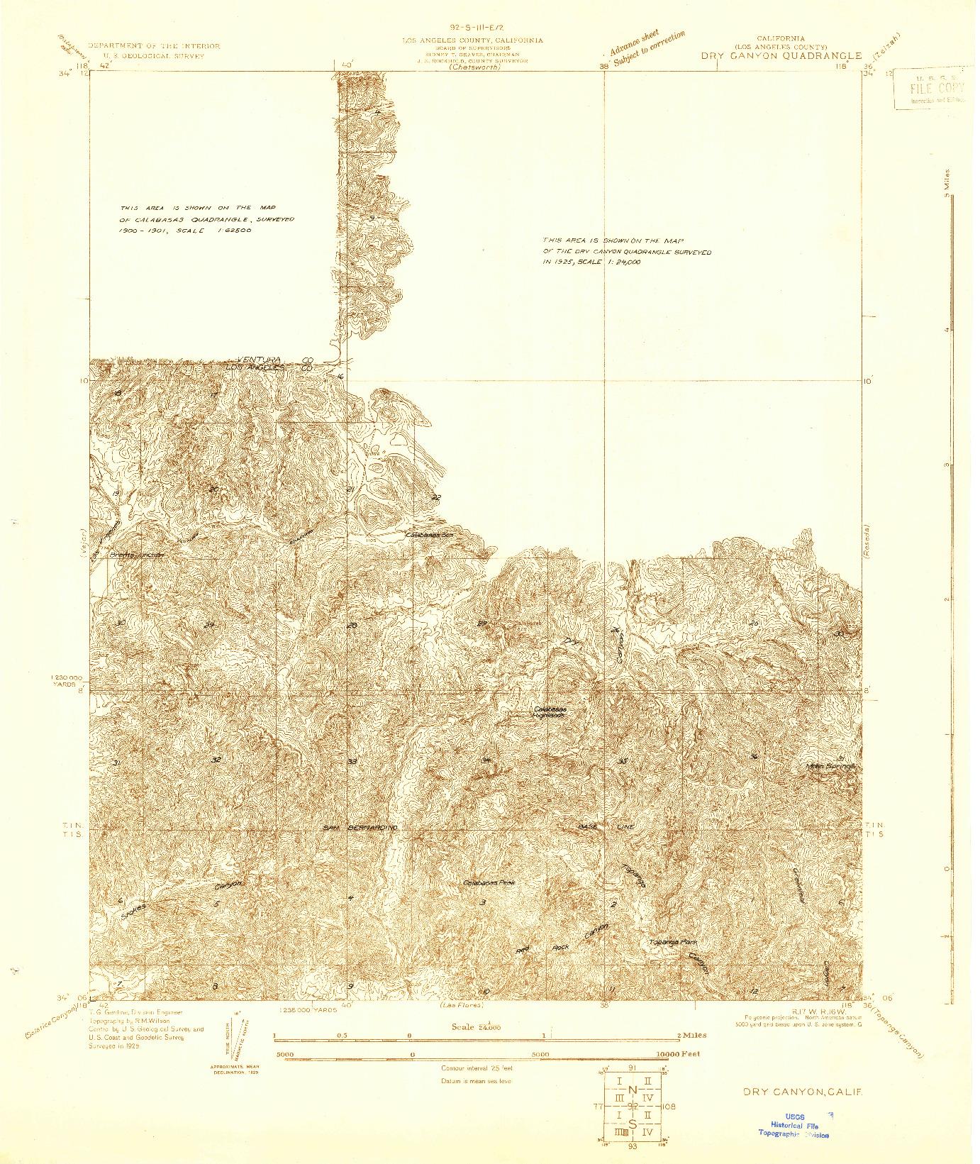 USGS 1:24000-SCALE QUADRANGLE FOR DRY CANYON, CA 1929