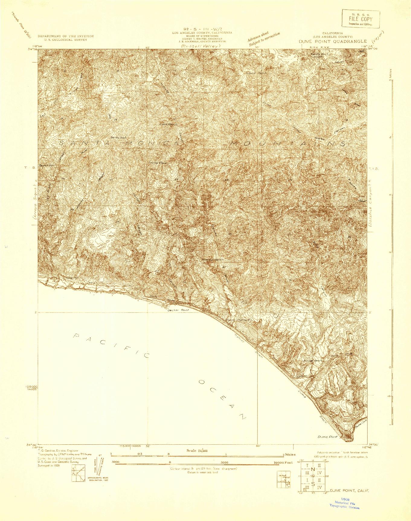 USGS 1:24000-SCALE QUADRANGLE FOR DUME POINT, CA 1929