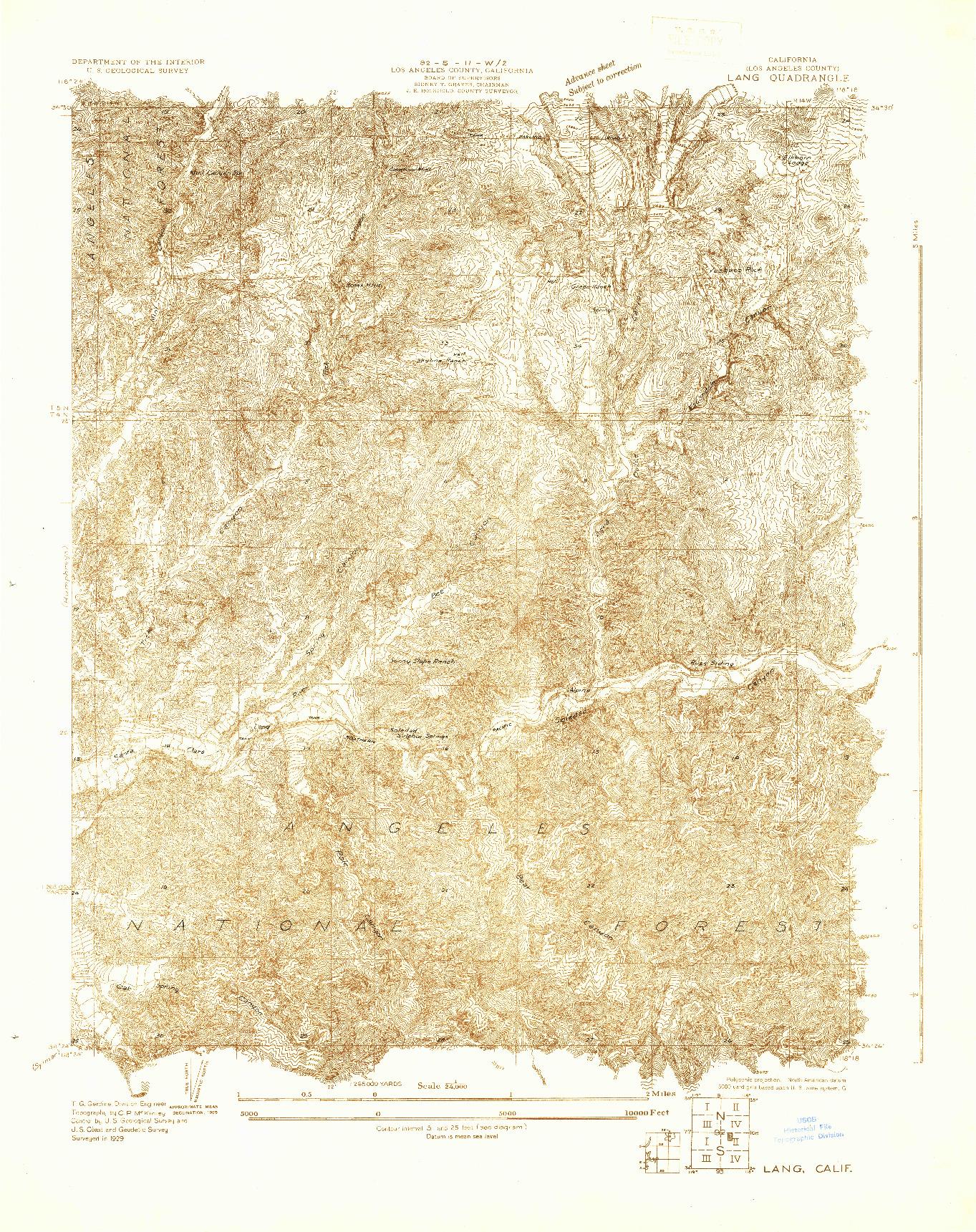 USGS 1:24000-SCALE QUADRANGLE FOR LANG, CA 1929