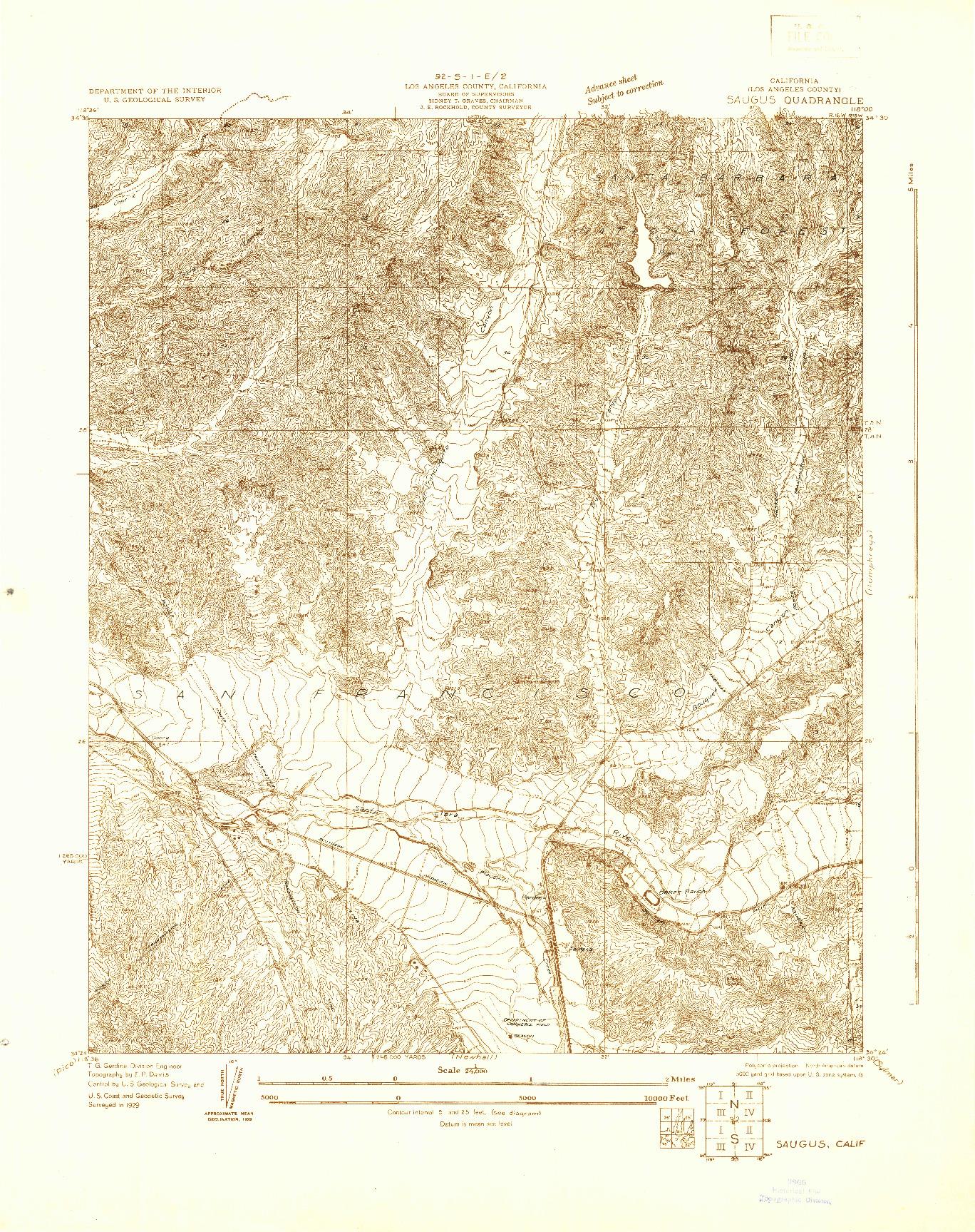 USGS 1:24000-SCALE QUADRANGLE FOR SAUGUS, CA 1929