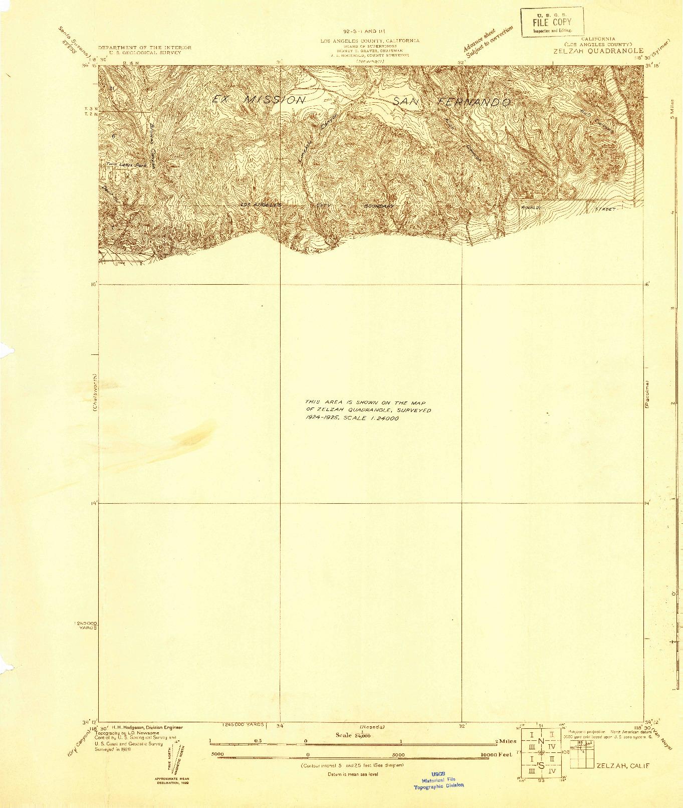 USGS 1:24000-SCALE QUADRANGLE FOR ZELZAH, CA 1929