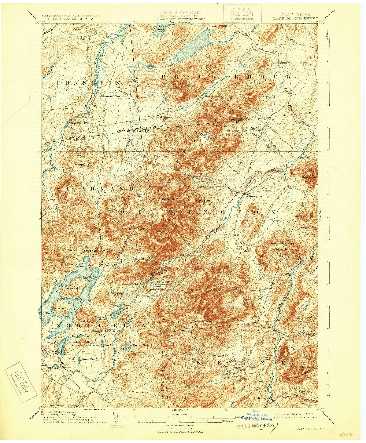 USGS 1:62500-SCALE QUADRANGLE FOR LAKE PLACID, NY 1898