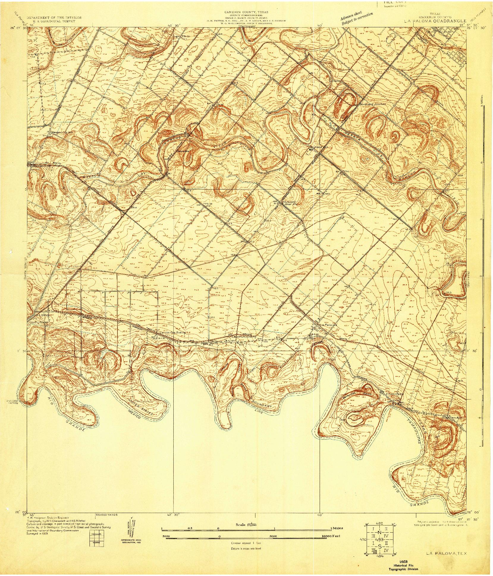 USGS 1:24000-SCALE QUADRANGLE FOR LA PALOMA, TX 1929