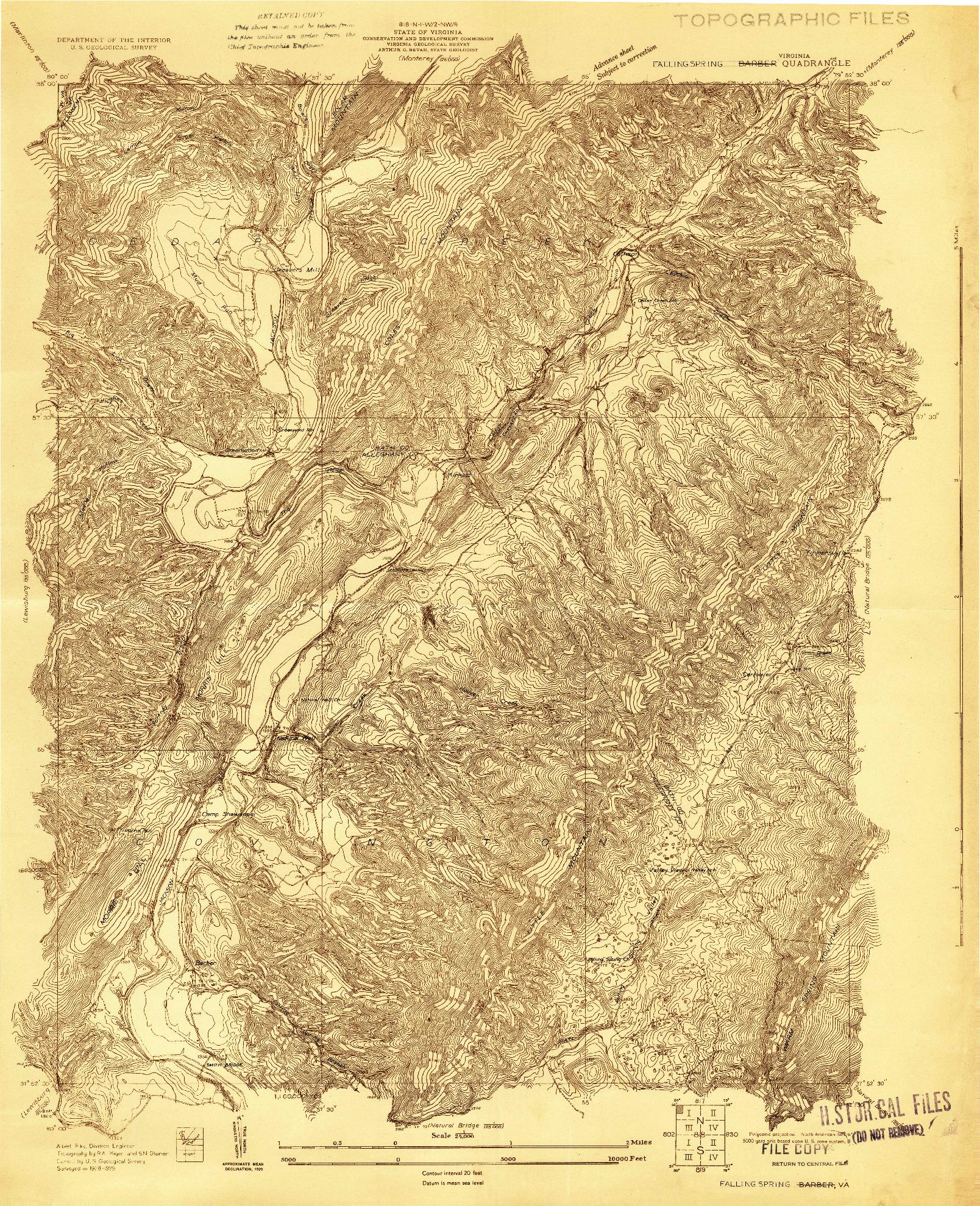USGS 1:24000-SCALE QUADRANGLE FOR FALLING SPRING, VA 1929