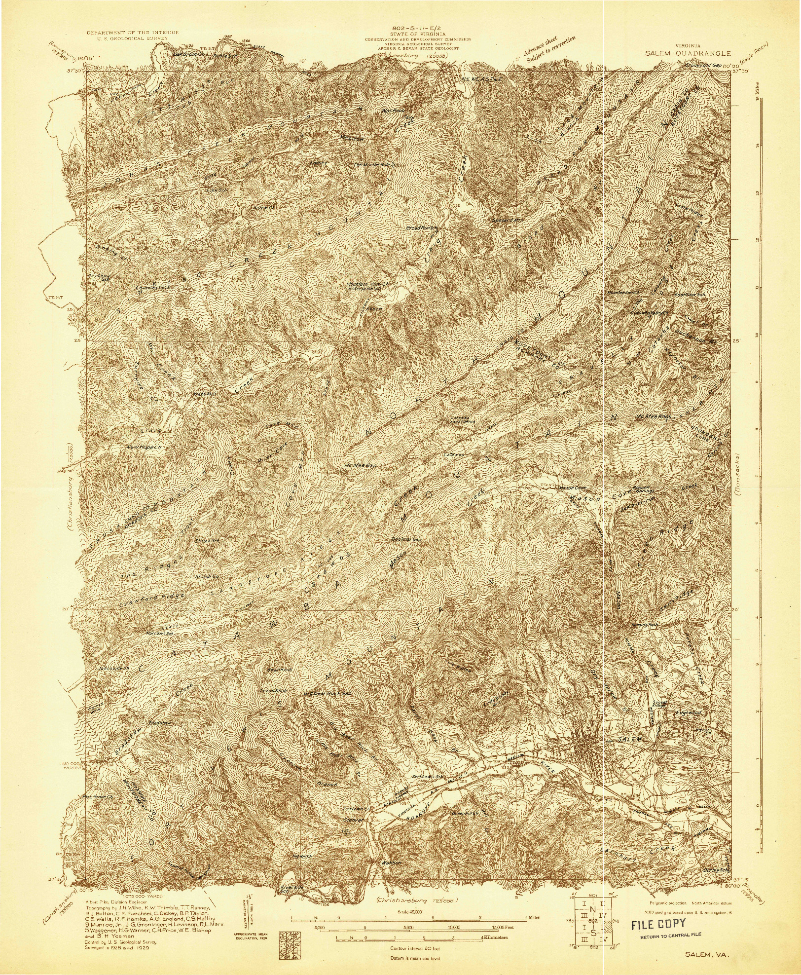 USGS 1:48000-SCALE QUADRANGLE FOR SALEM, VA 1929