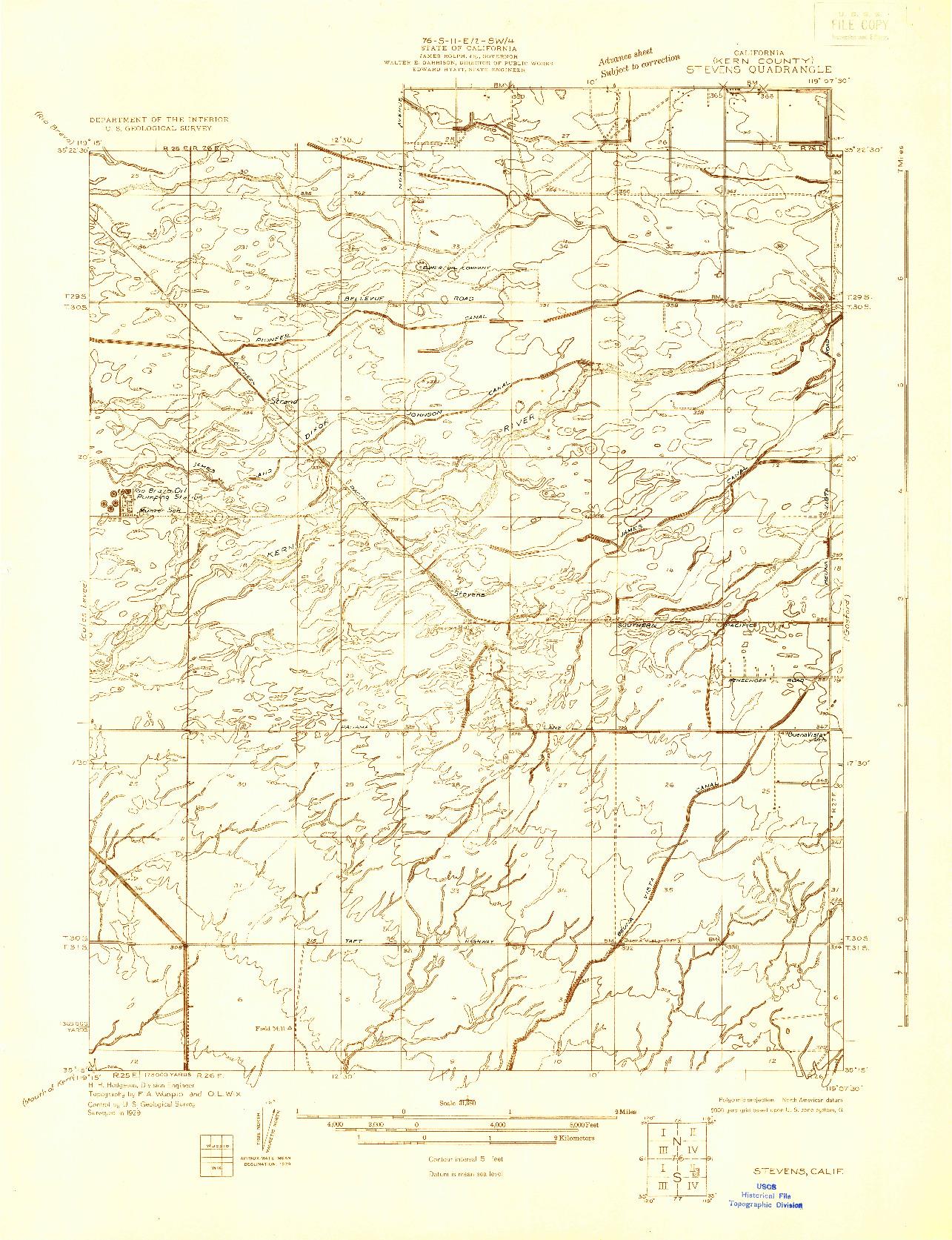 USGS 1:31680-SCALE QUADRANGLE FOR STEVENS, CA 1929