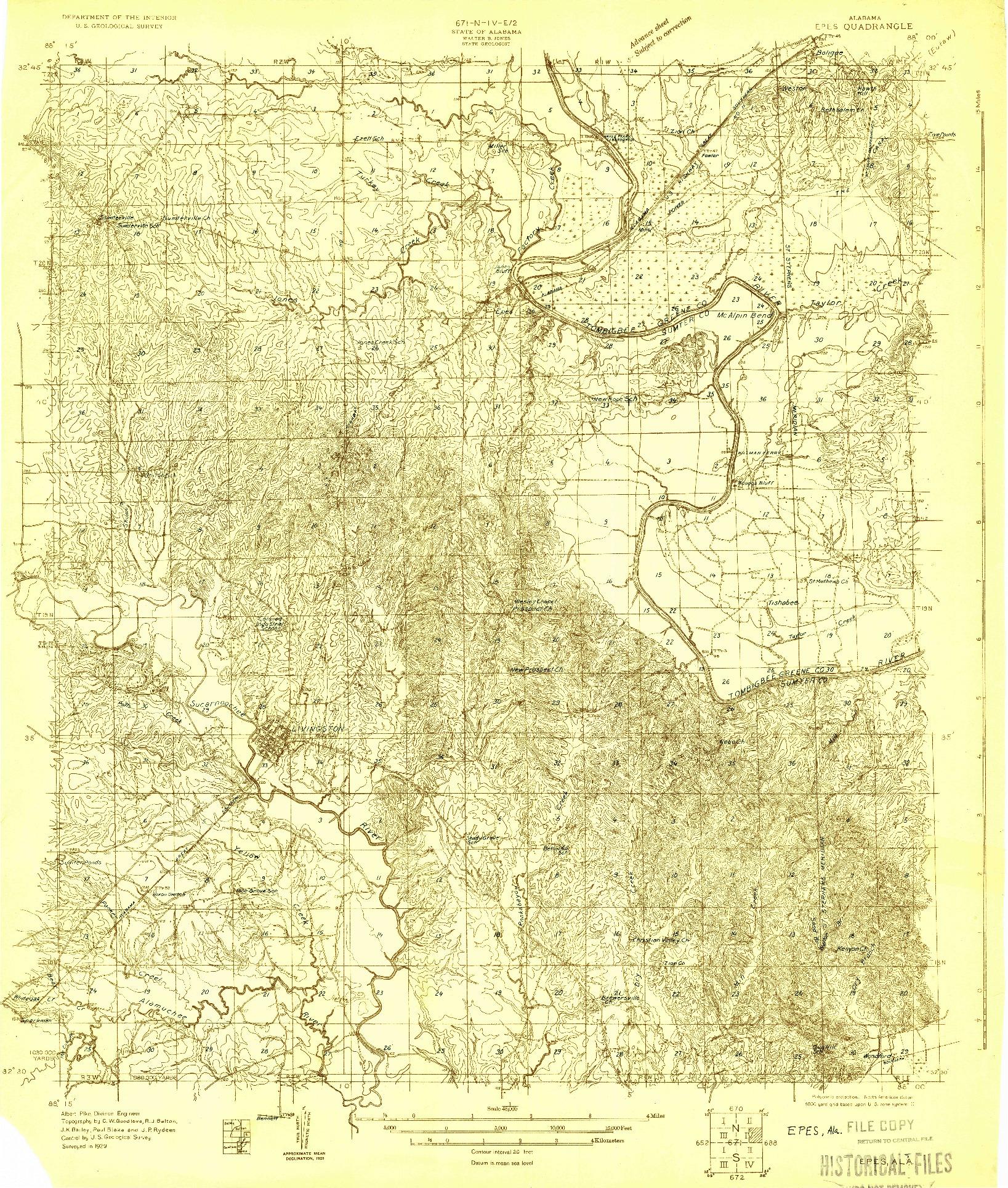 USGS 1:48000-SCALE QUADRANGLE FOR EPES, AL 1929
