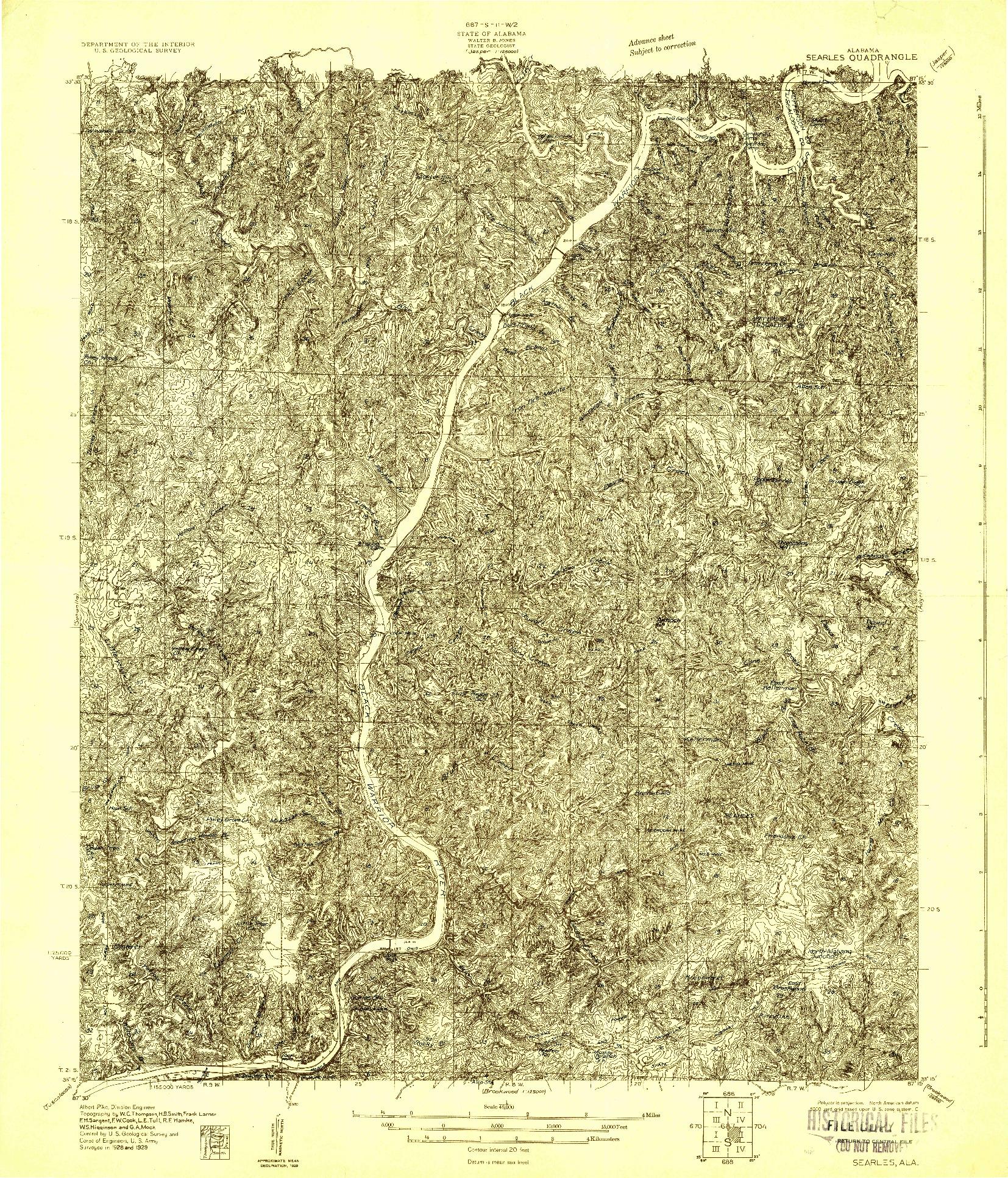 USGS 1:48000-SCALE QUADRANGLE FOR SEARLES, AL 1929