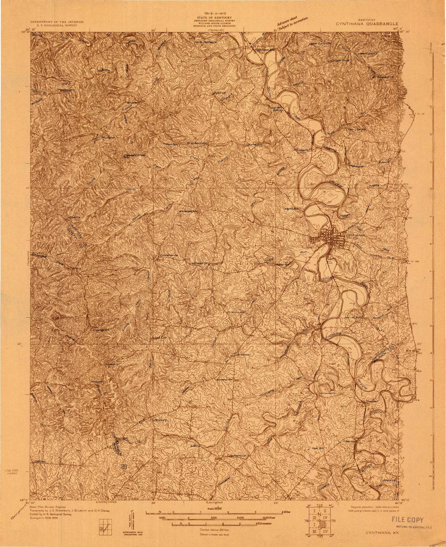 USGS 1:48000-SCALE QUADRANGLE FOR CYNTHIANA, KY 1929