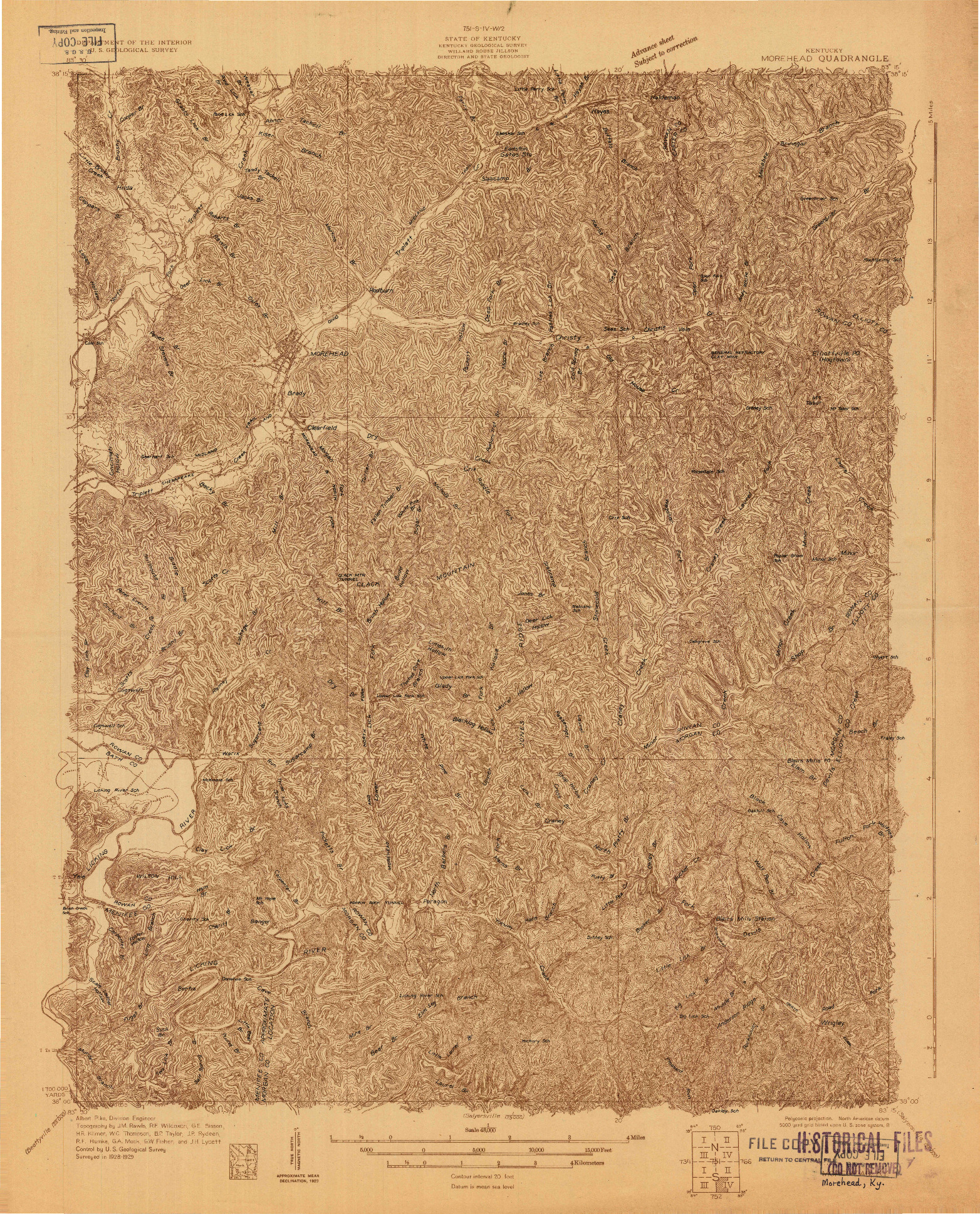 USGS 1:48000-SCALE QUADRANGLE FOR MOREHEAD, KY 1929
