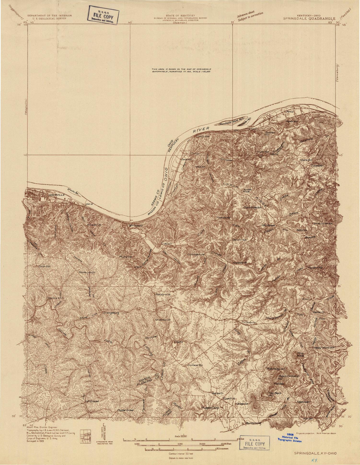 USGS 1:48000-SCALE QUADRANGLE FOR SPRINGDALE, KY 1929