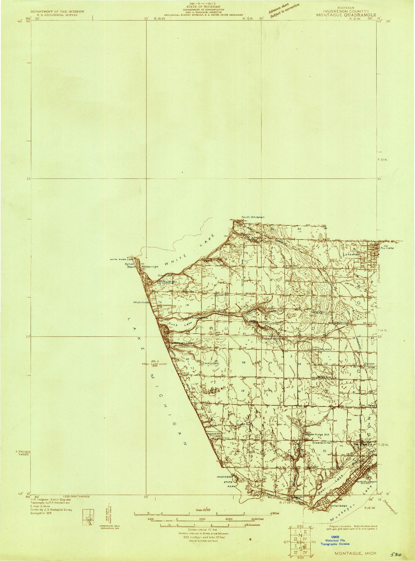 USGS 1:48000-SCALE QUADRANGLE FOR MONTAGUE, MI 1929