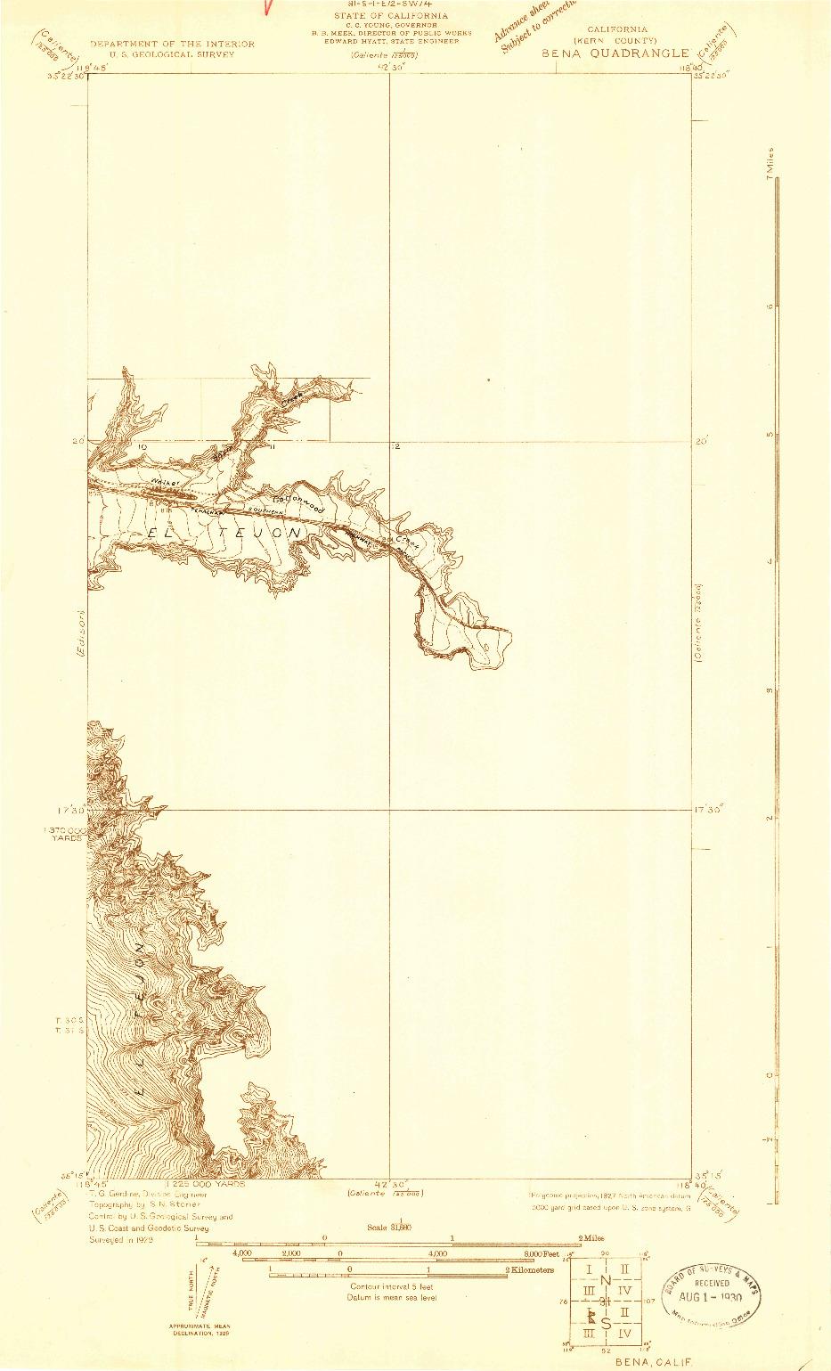 USGS 1:31680-SCALE QUADRANGLE FOR BENA, CA 1929
