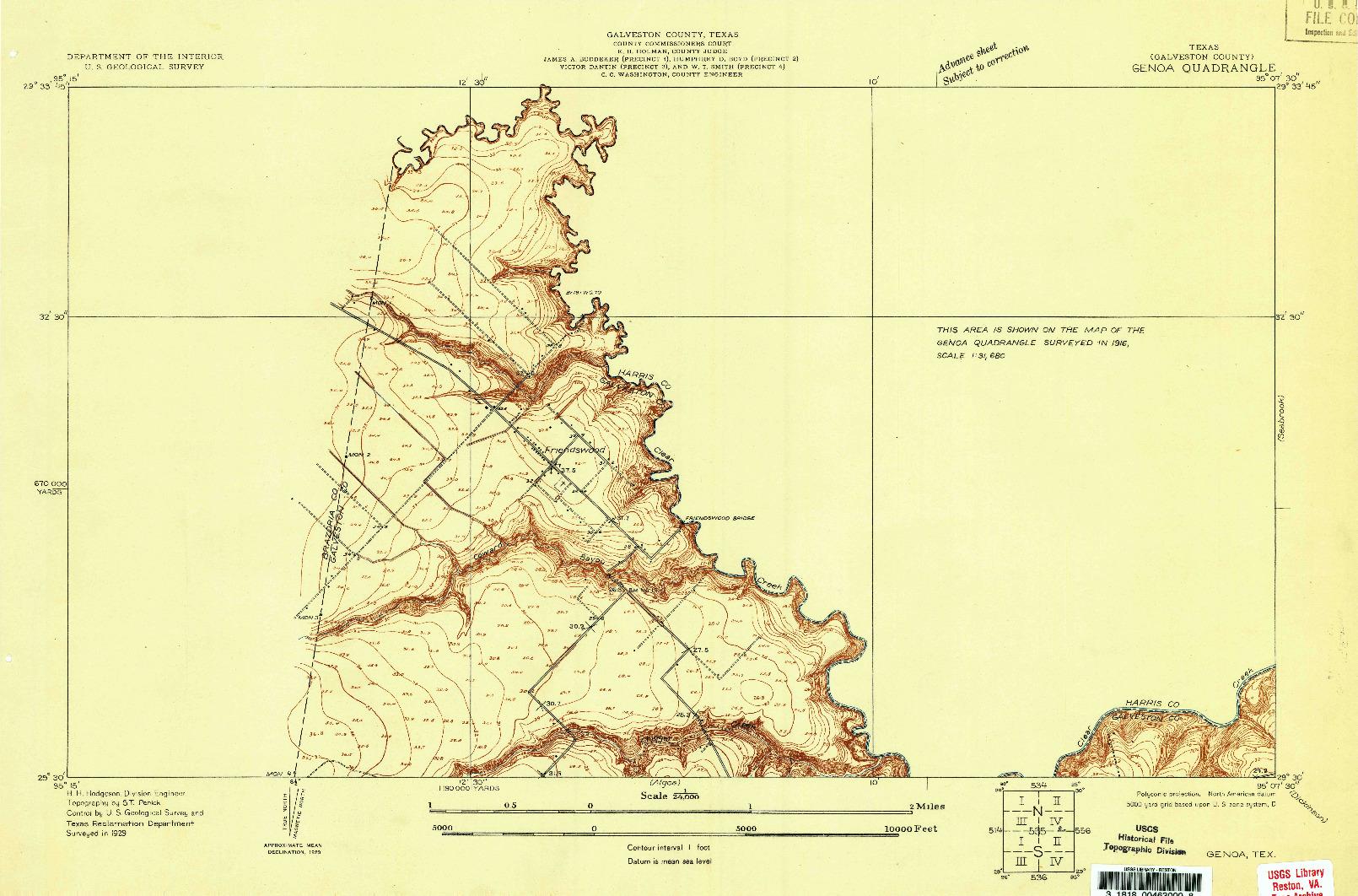 USGS 1:24000-SCALE QUADRANGLE FOR GENOA, TX 1929