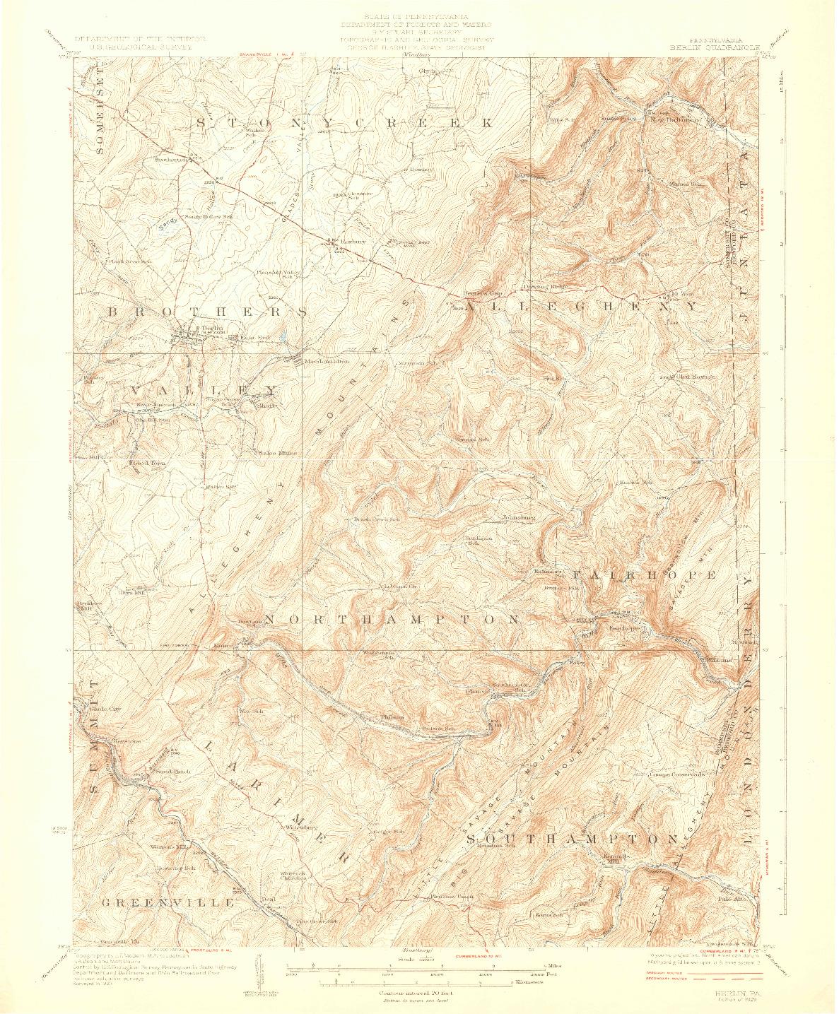 USGS 1:62500-SCALE QUADRANGLE FOR BERLIN, PA 1929