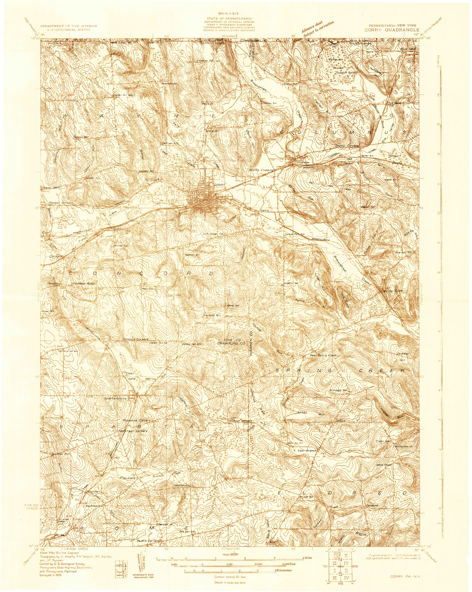 USGS 1:48000-SCALE QUADRANGLE FOR CORRY, PA 1929