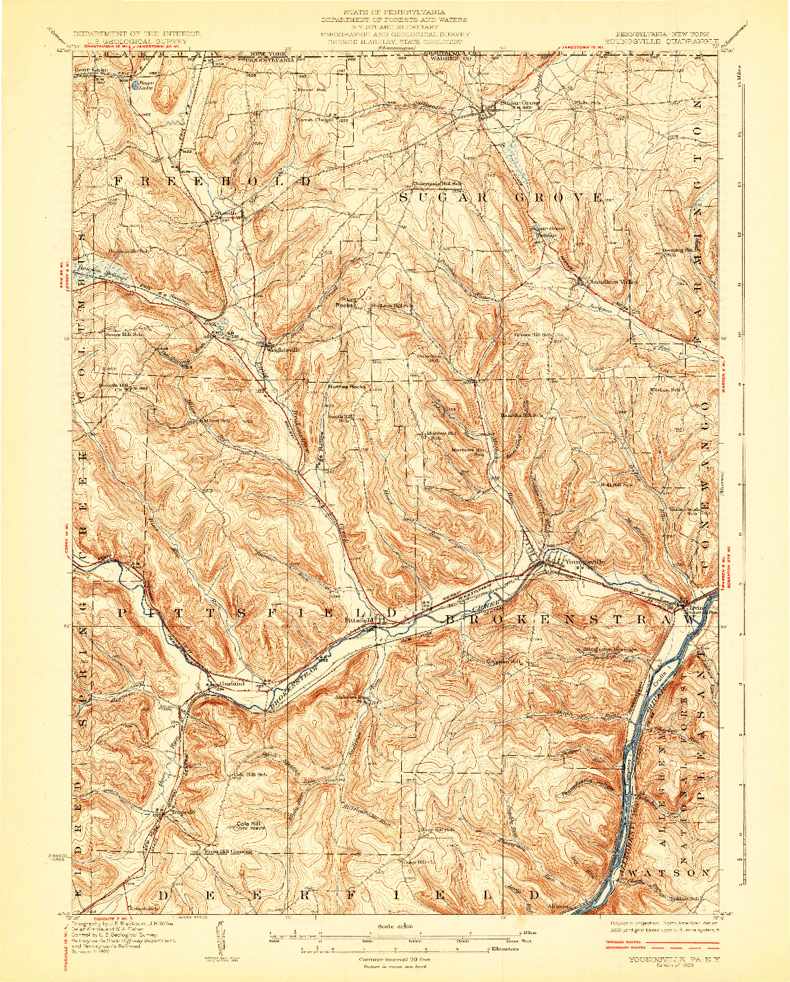 USGS 1:62500-SCALE QUADRANGLE FOR YOUNGSVILLE, PA 1929