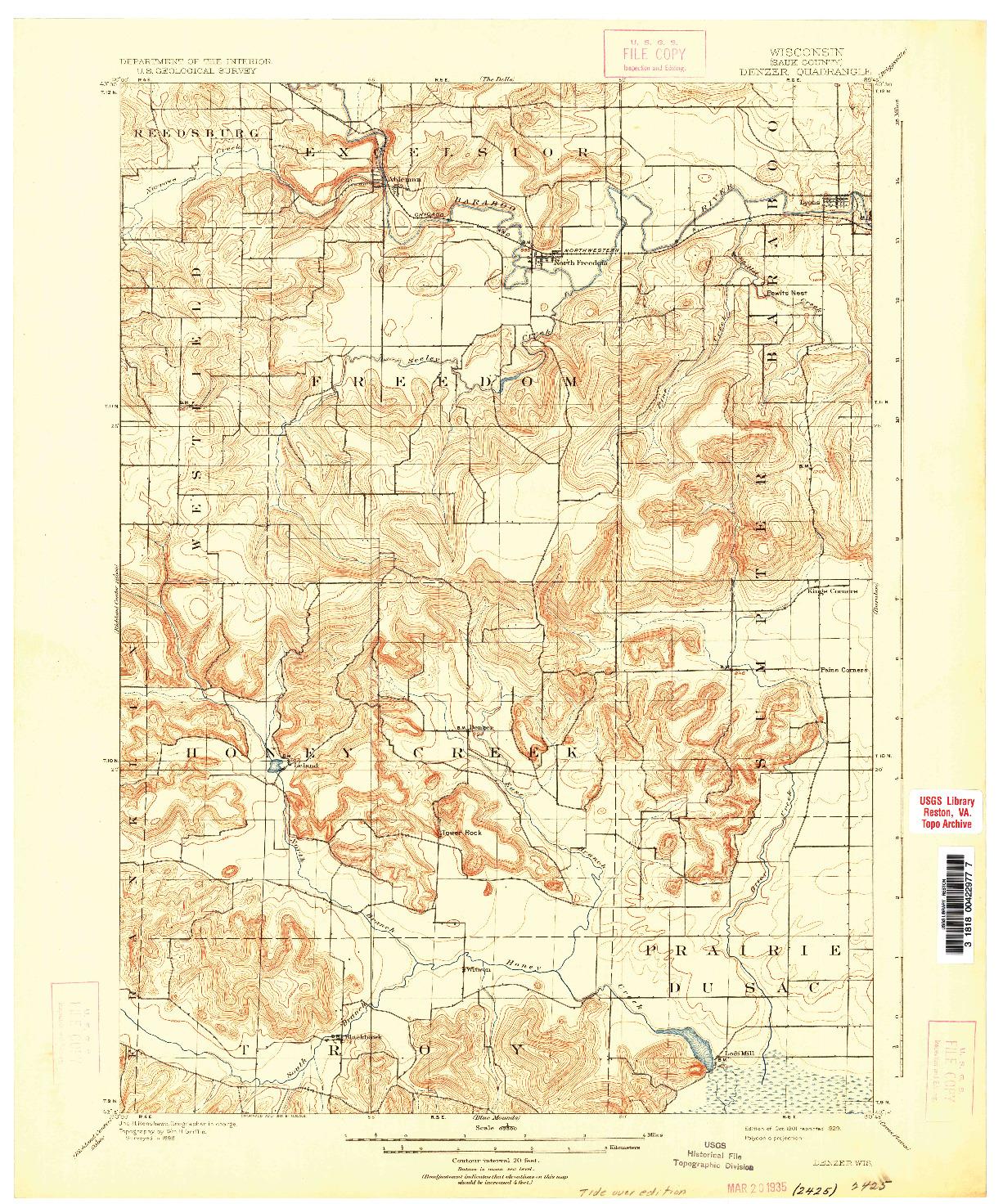 USGS 1:62500-SCALE QUADRANGLE FOR DENZER, WI 1901