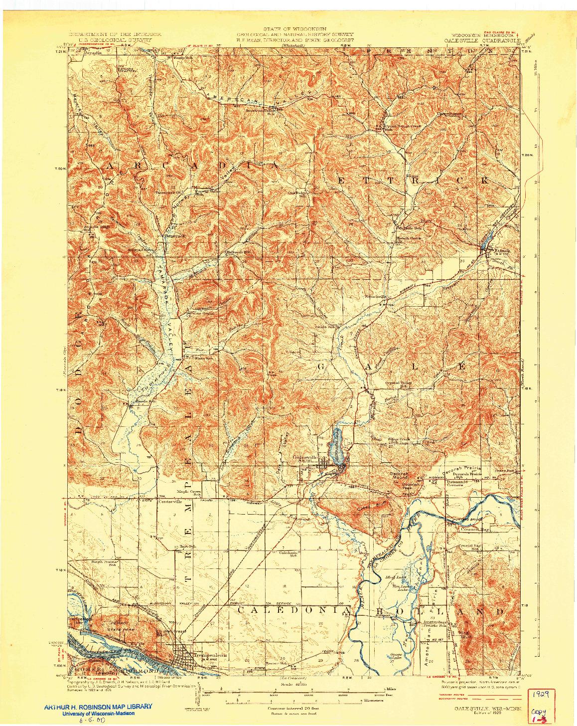 USGS 1:62500-SCALE QUADRANGLE FOR GALESVILLE, WI 1929