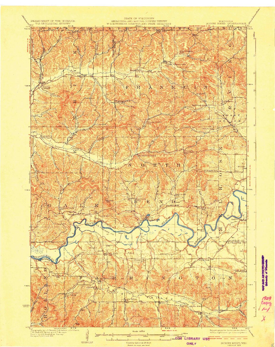 USGS 1:62500-SCALE QUADRANGLE FOR NORTH BEND, WI 1929