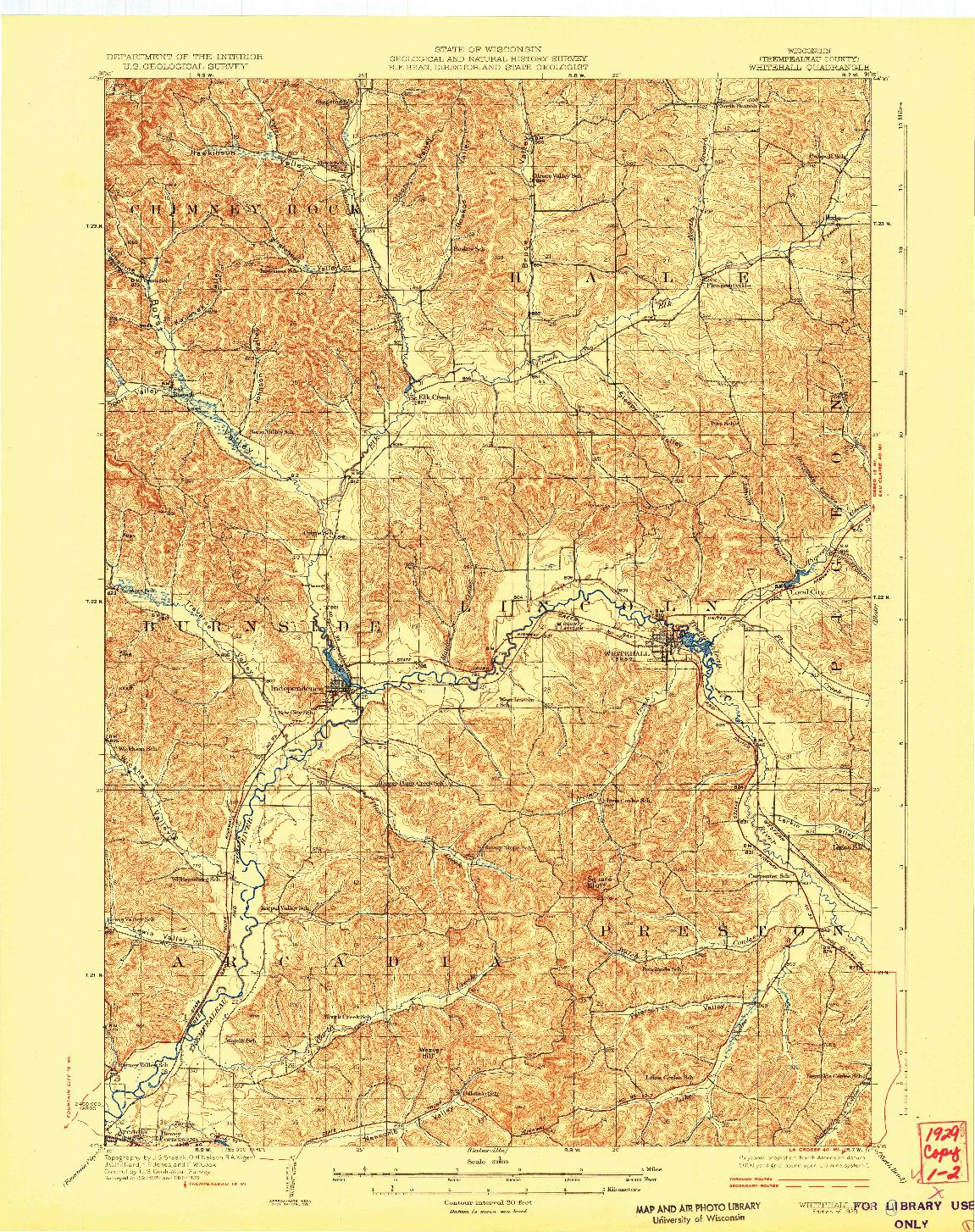 USGS 1:62500-SCALE QUADRANGLE FOR WHITEHALL, WI 1929