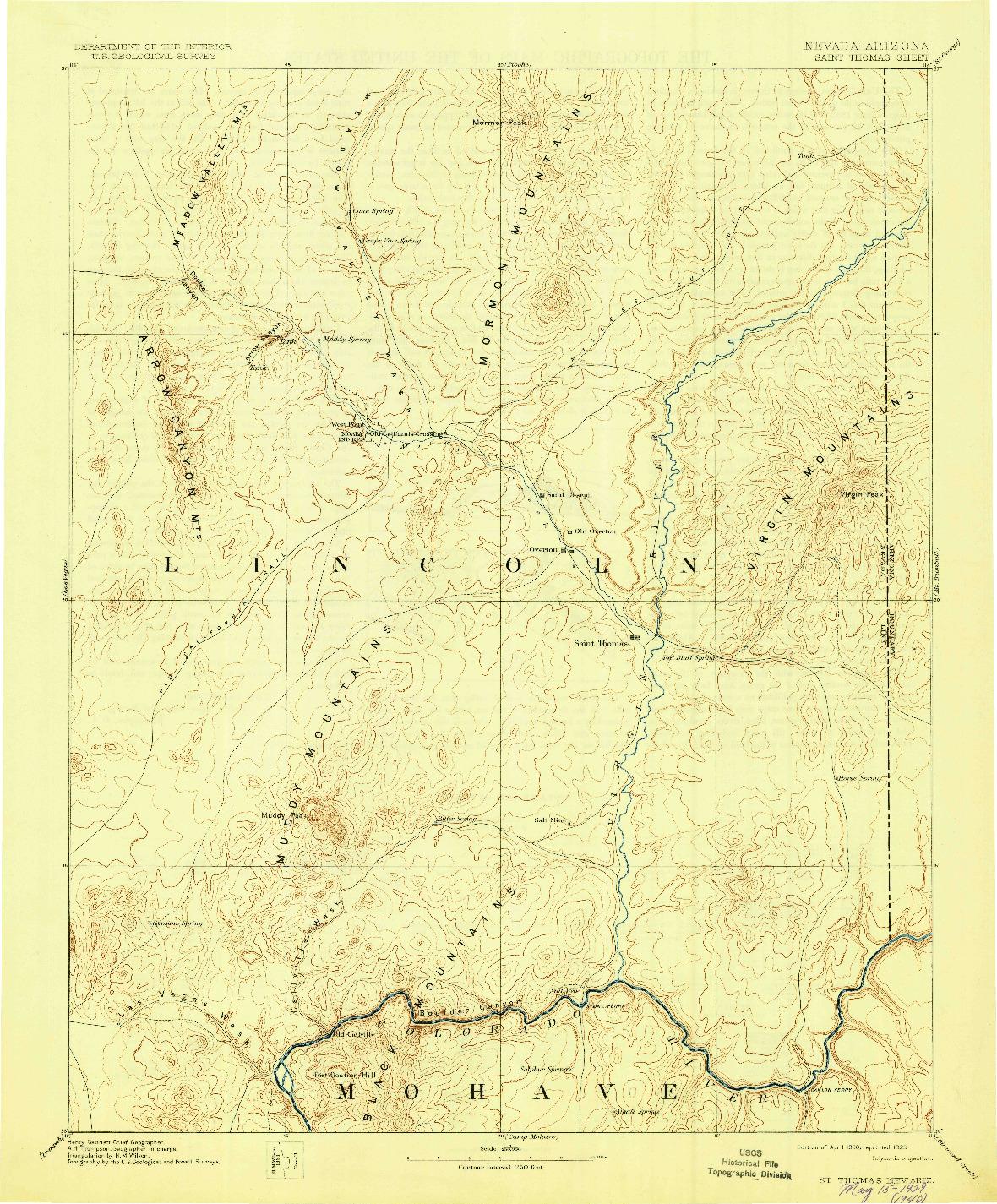 USGS 1:250000-SCALE QUADRANGLE FOR SAINT THOMAS, NV 1886