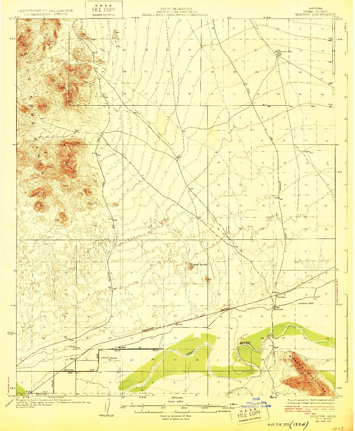 USGS 1:62500-SCALE QUADRANGLE FOR NORTON, AZ 1929
