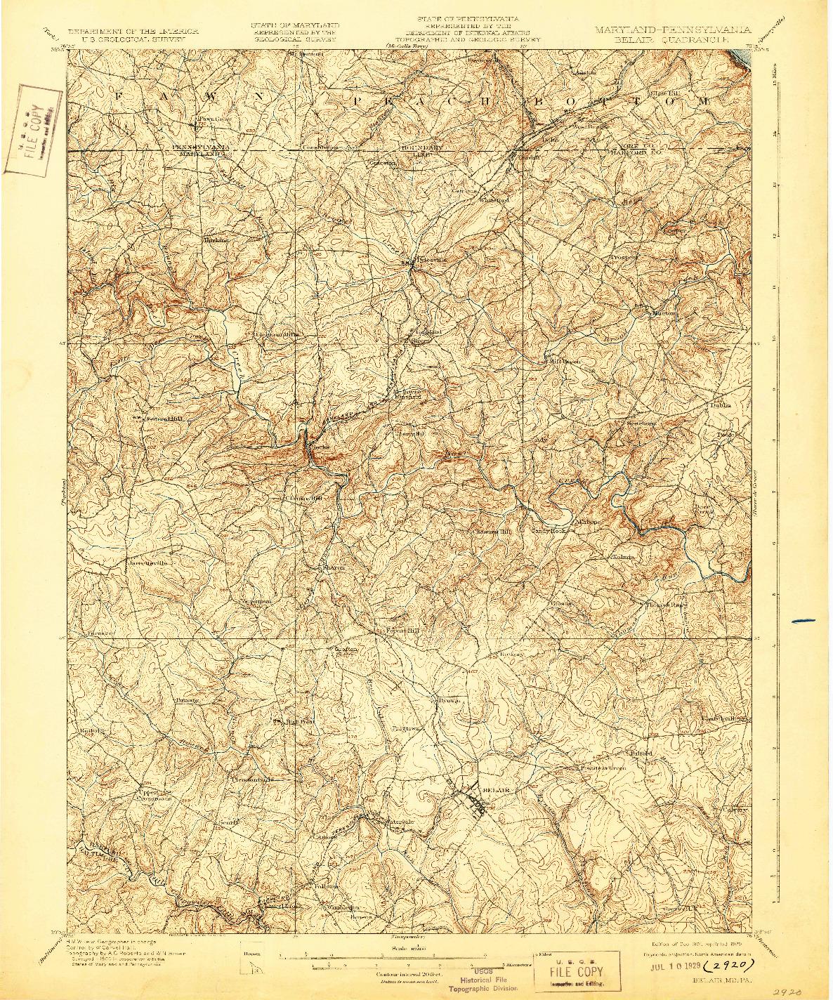 USGS 1:62500-SCALE QUADRANGLE FOR BELAIR, MD 1901