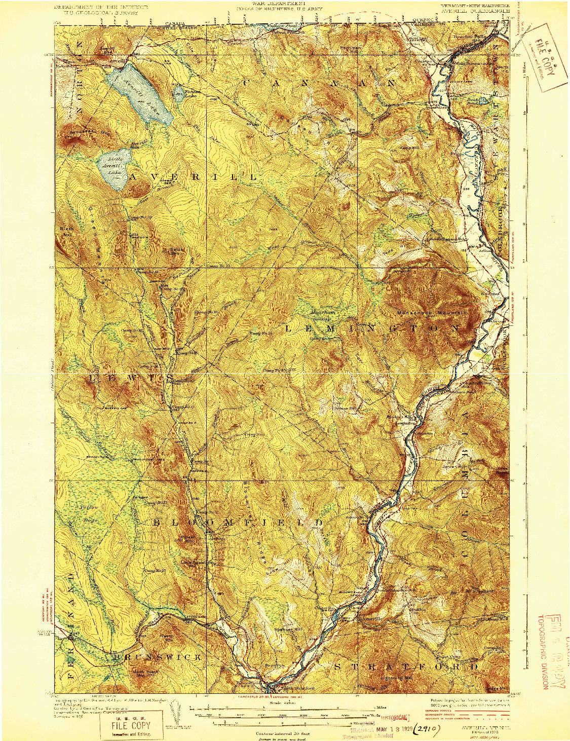 USGS 1:62500-SCALE QUADRANGLE FOR AVERILL, VT 1929