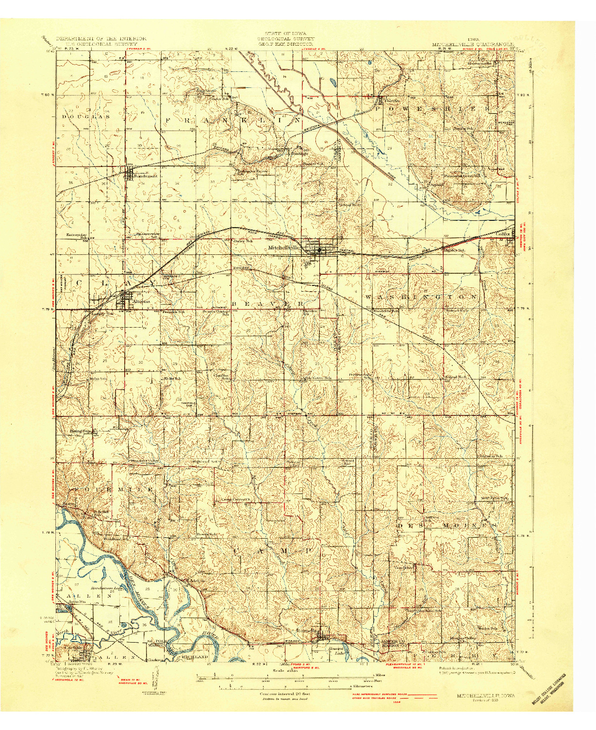 USGS 1:62500-SCALE QUADRANGLE FOR MITCHELLVILLE, IA 1930
