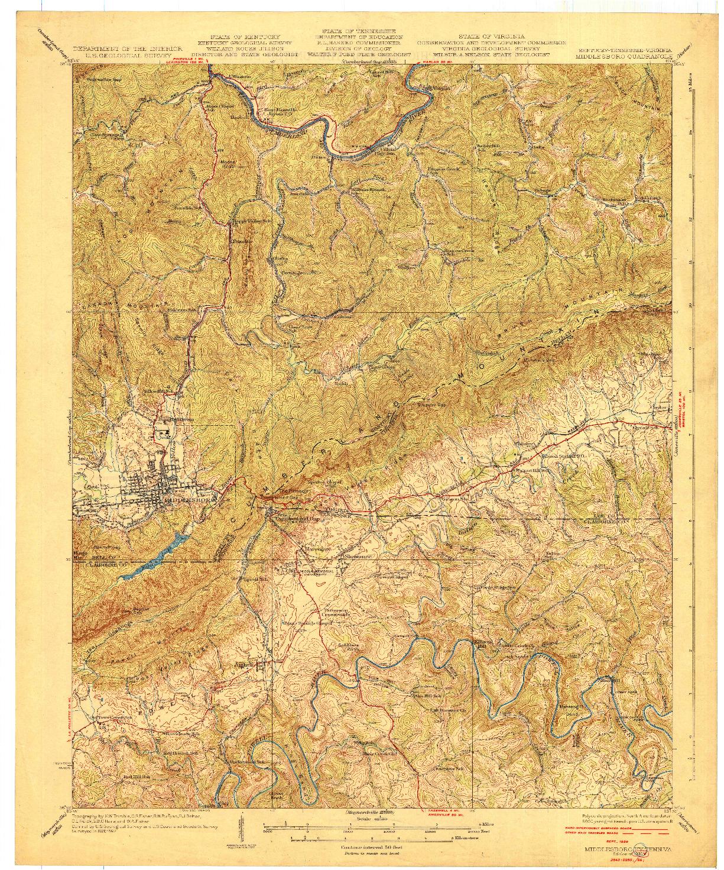 USGS 1:62500-SCALE QUADRANGLE FOR MIDDLESBORO, KY 1930