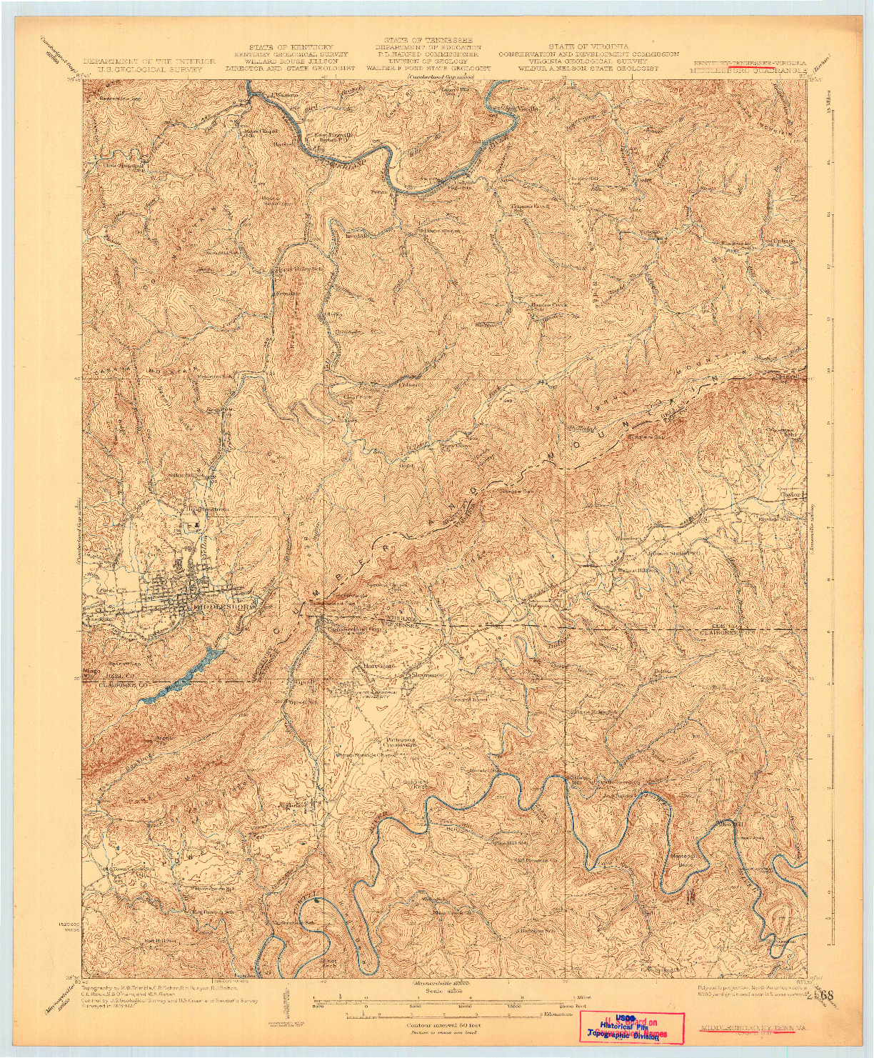USGS 1:62500-SCALE QUADRANGLE FOR MIDDLESBORO, KY 1930