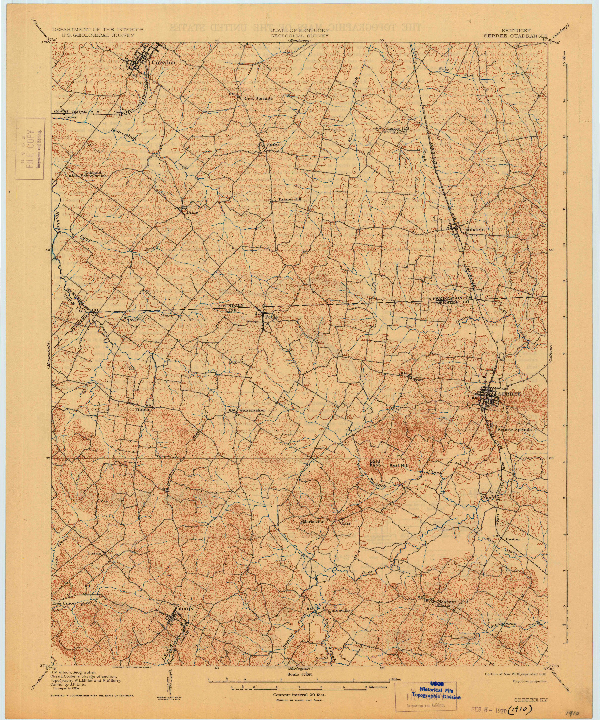 USGS 1:62500-SCALE QUADRANGLE FOR SEBREE, KY 1906