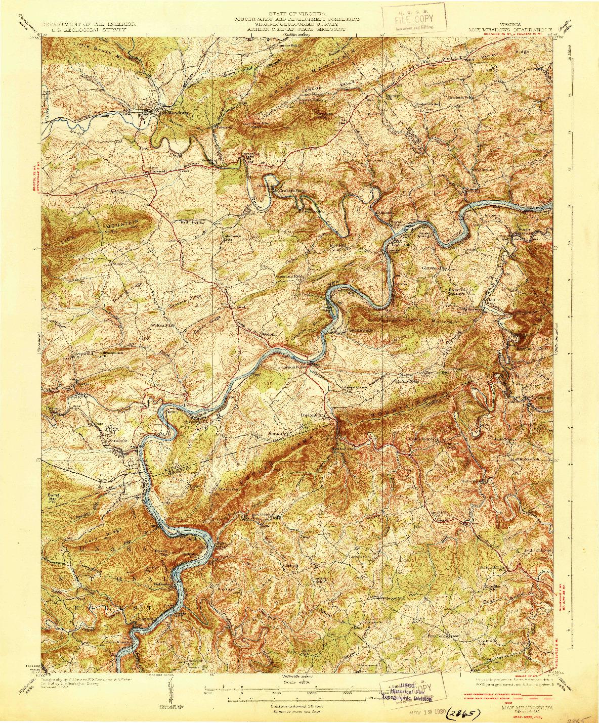 USGS 1:62500-SCALE QUADRANGLE FOR MAX MEADOWS, VA 1930
