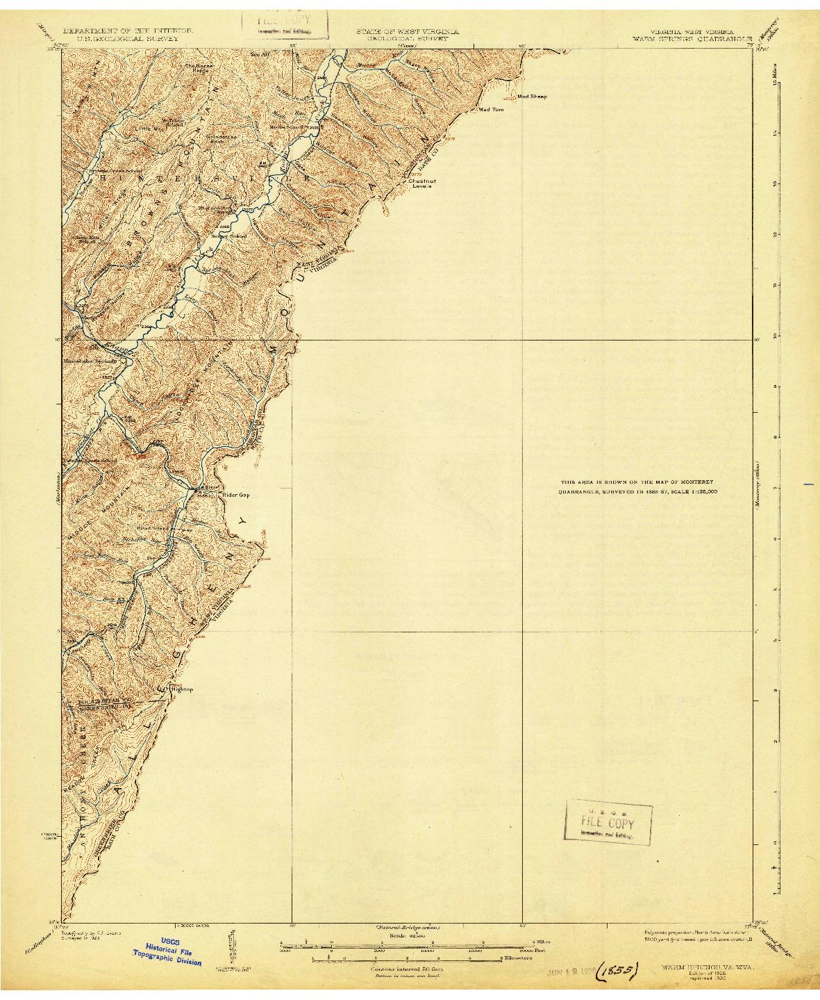 USGS 1:62500-SCALE QUADRANGLE FOR WARM SPRINGS, VA 1926
