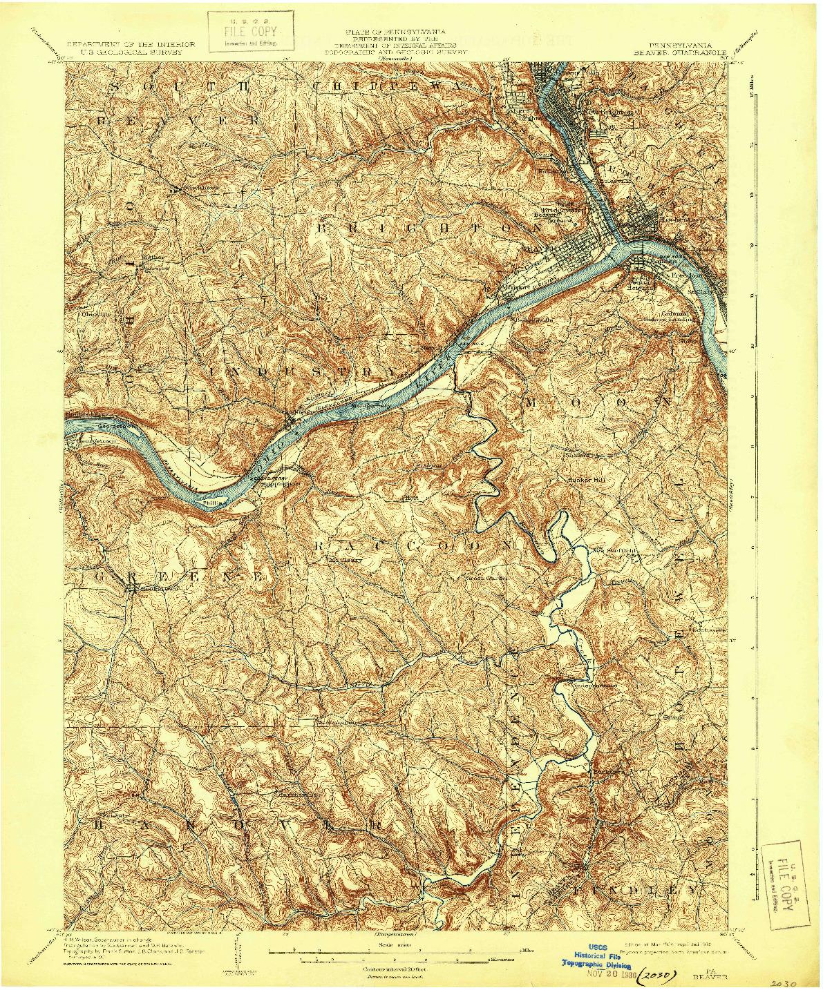 USGS 1:62500-SCALE QUADRANGLE FOR BEAVER, PA 1904