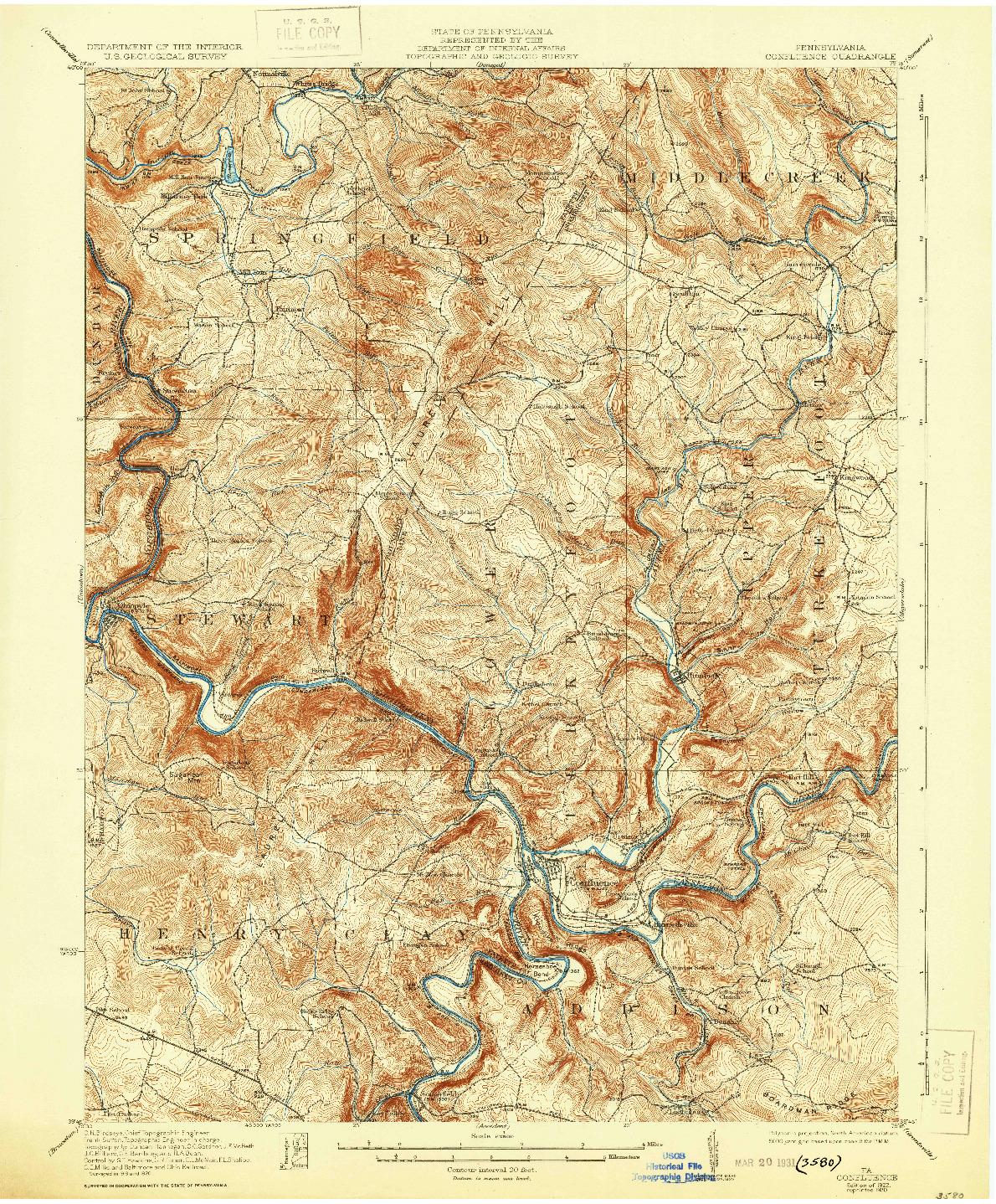 USGS 1:62500-SCALE QUADRANGLE FOR CONFLUENCE, PA 1922