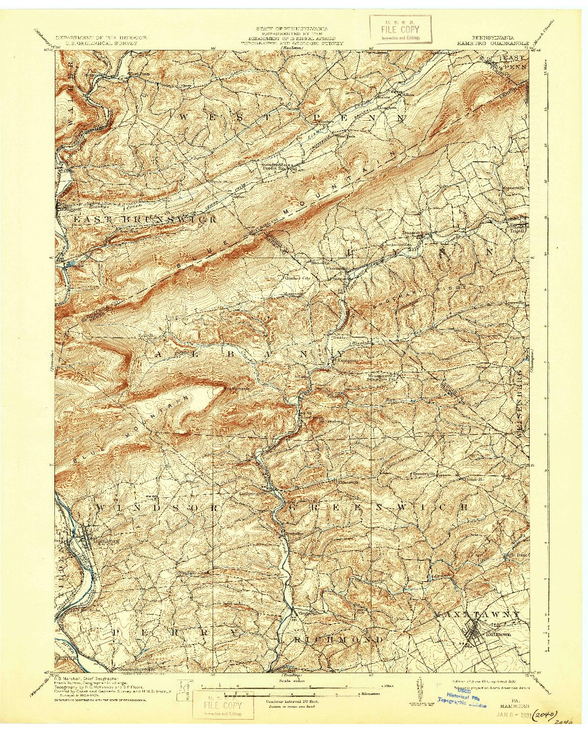 USGS 1:62500-SCALE QUADRANGLE FOR HAMBURG, PA 1911