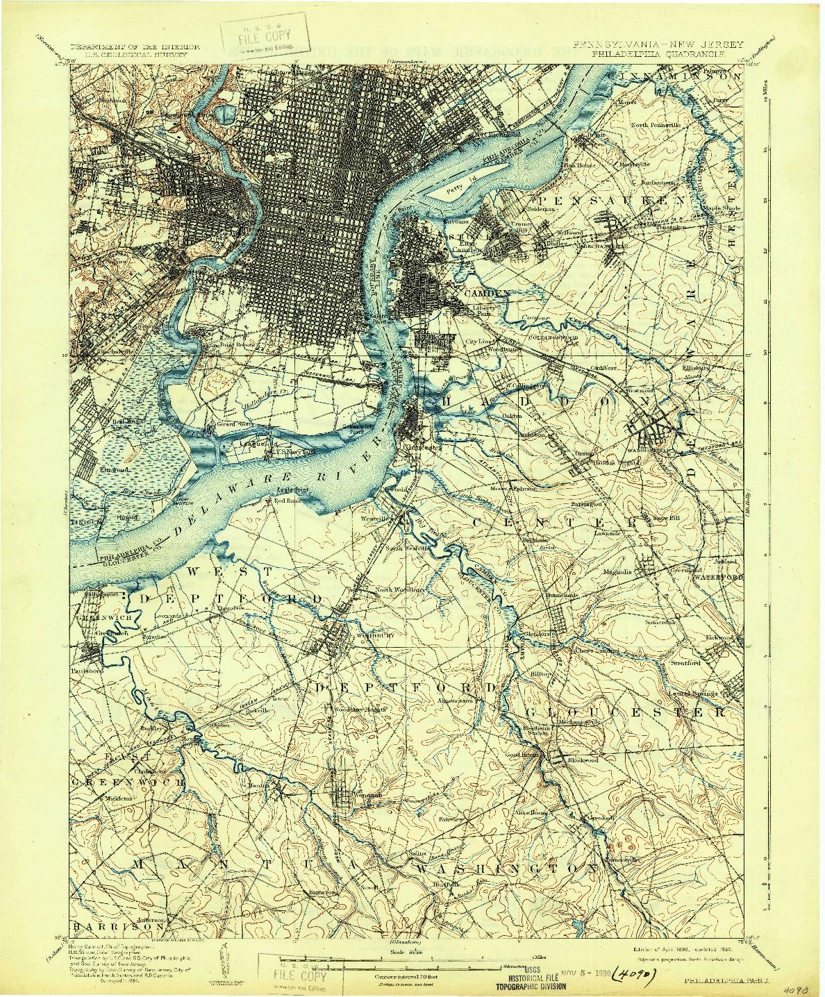 USGS 1:62500-SCALE QUADRANGLE FOR PHILADELPHIA, PA 1898