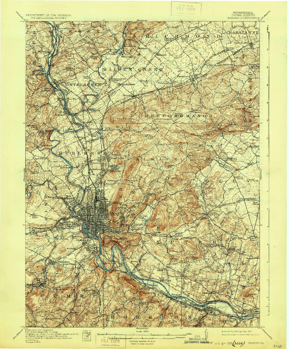 USGS 1:62500-SCALE QUADRANGLE FOR READING, PA 1915