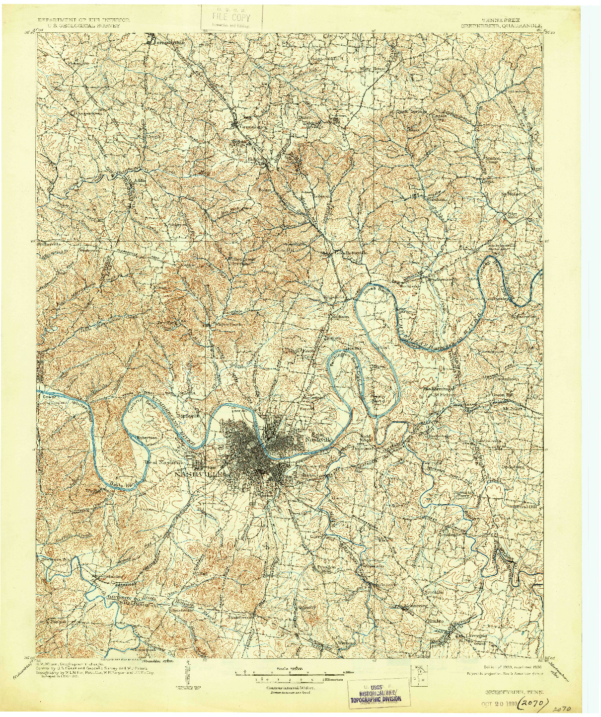 USGS 1:125000-SCALE QUADRANGLE FOR GREENBRIER, TN 1903