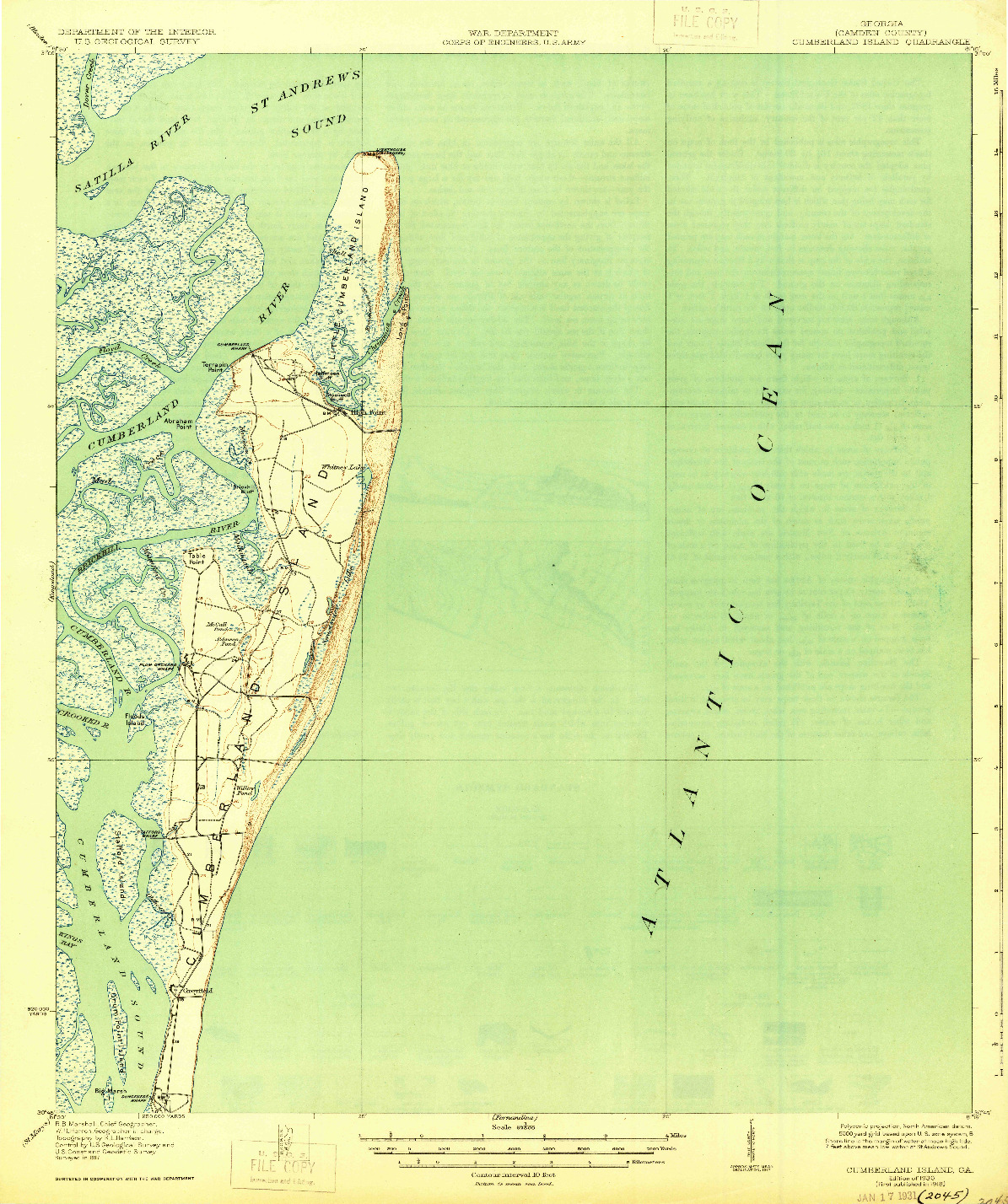 USGS 1:62500-SCALE QUADRANGLE FOR CUMBERLAND ISLAND, GA 1930