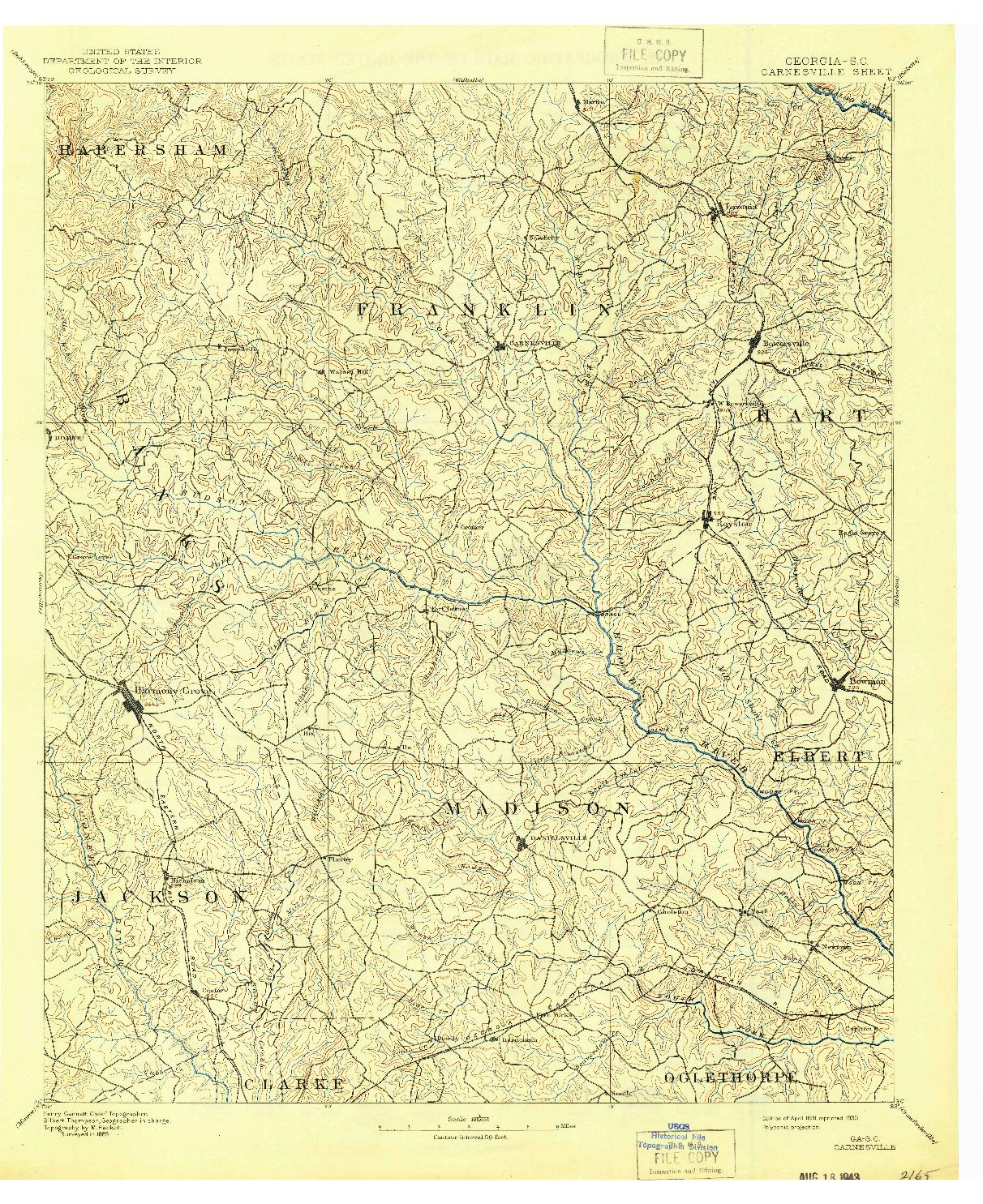 USGS 1:125000-SCALE QUADRANGLE FOR CARNESVILLE, GA 1891