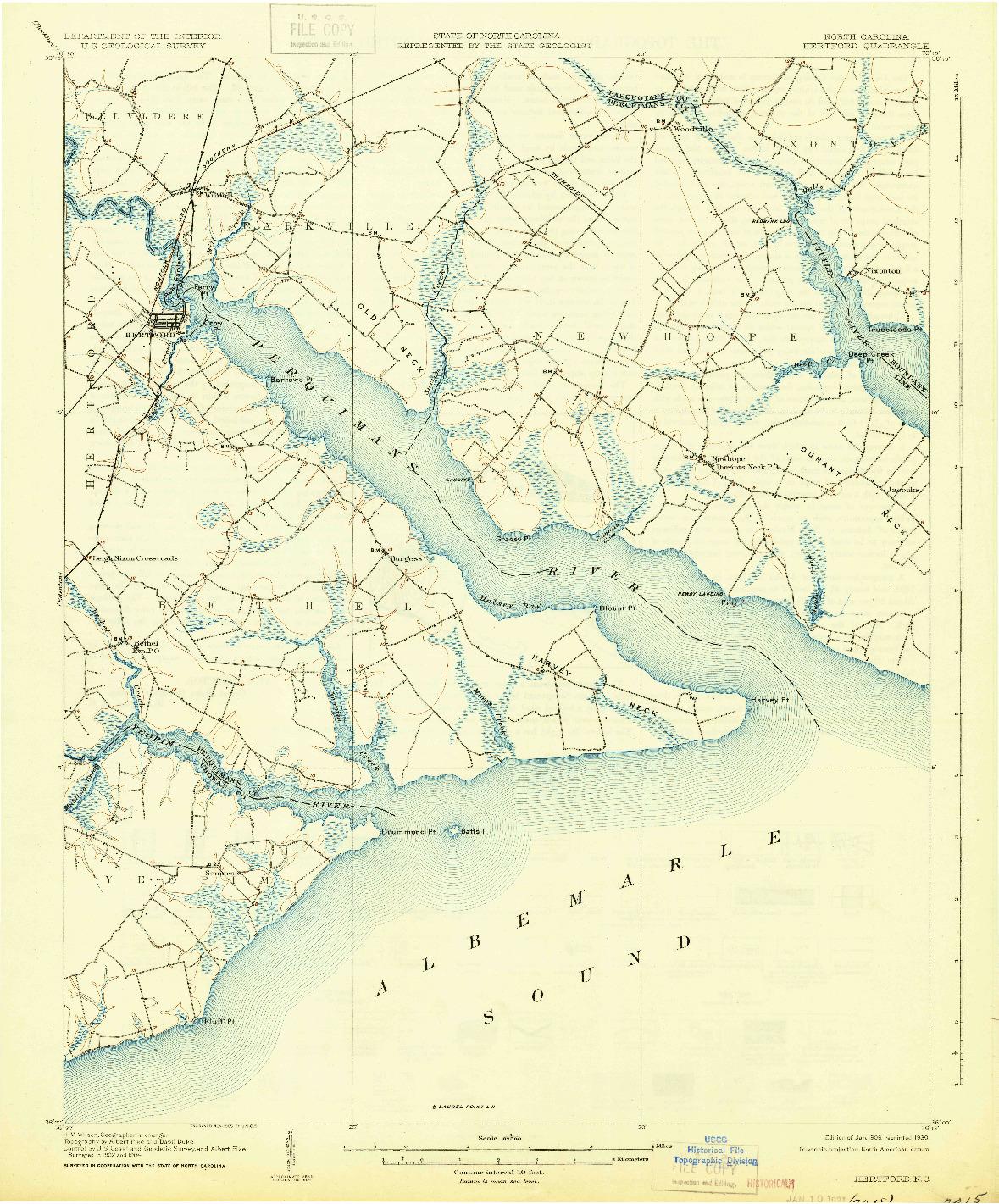 USGS 1:62500-SCALE QUADRANGLE FOR HERTFORD, NC 1906