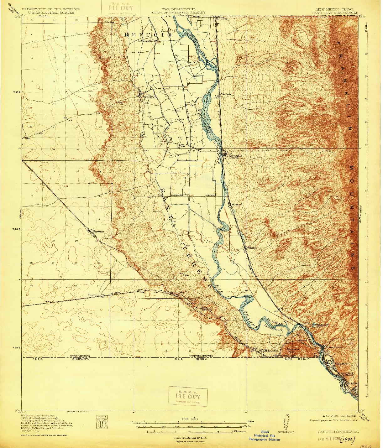 USGS 1:62500-SCALE QUADRANGLE FOR CANUTILLO, NM 1919