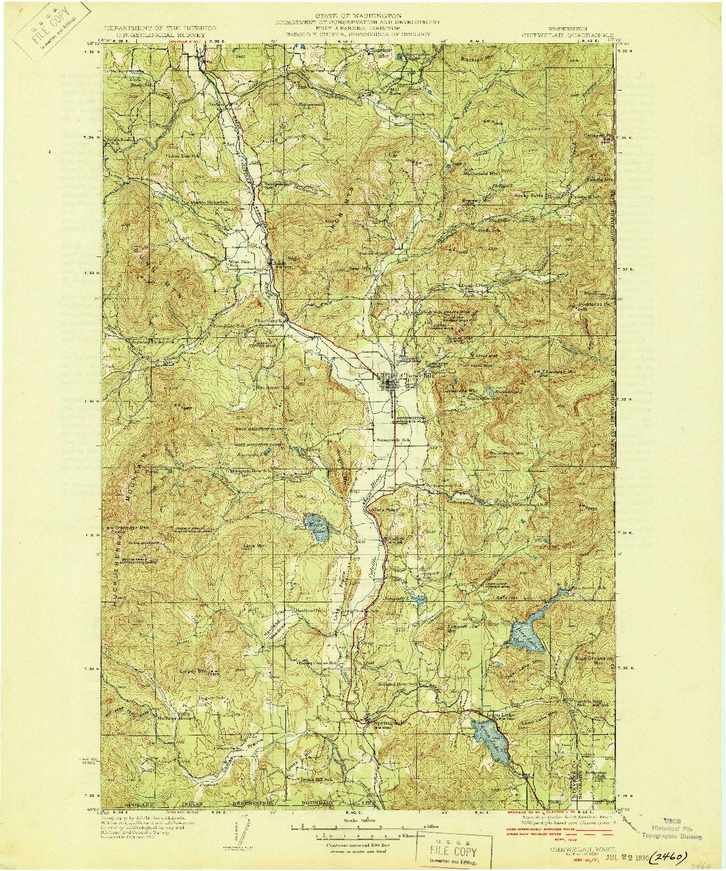 USGS 1:125000-SCALE QUADRANGLE FOR CHEWELAH, WA 1930