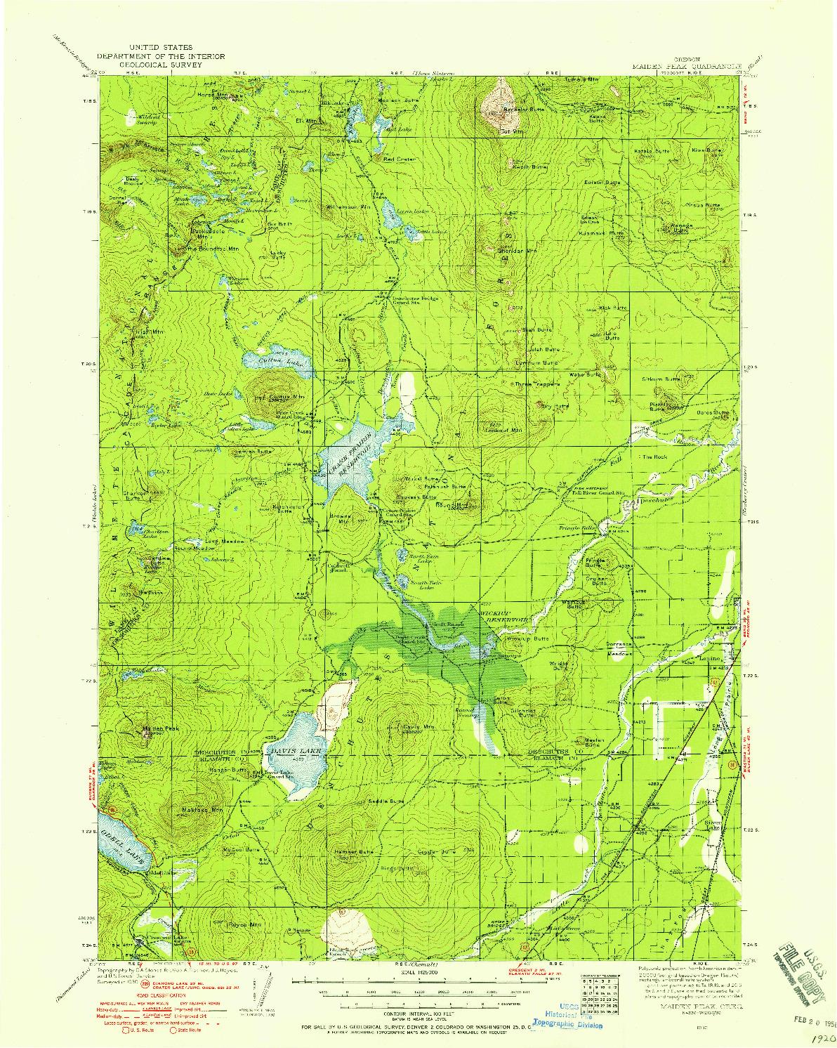 USGS 1:125000-SCALE QUADRANGLE FOR MAIDEN PEAK, OR 1930