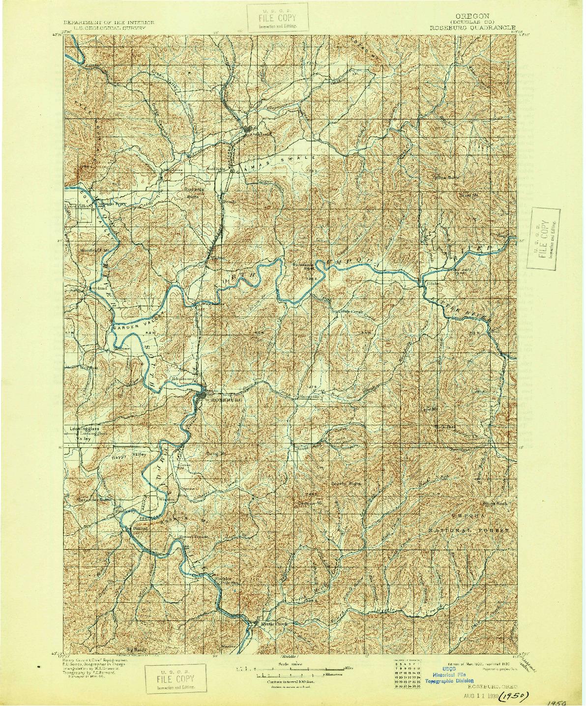 USGS 1:125000-SCALE QUADRANGLE FOR ROSEBURG, OR 1900