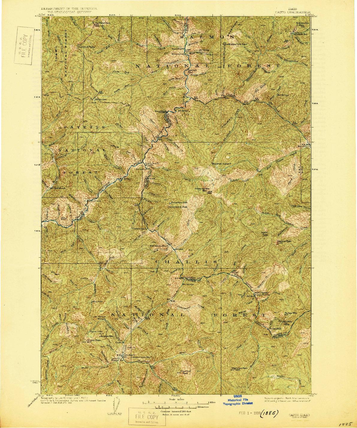 USGS 1:125000-SCALE QUADRANGLE FOR CASTO, ID 1930